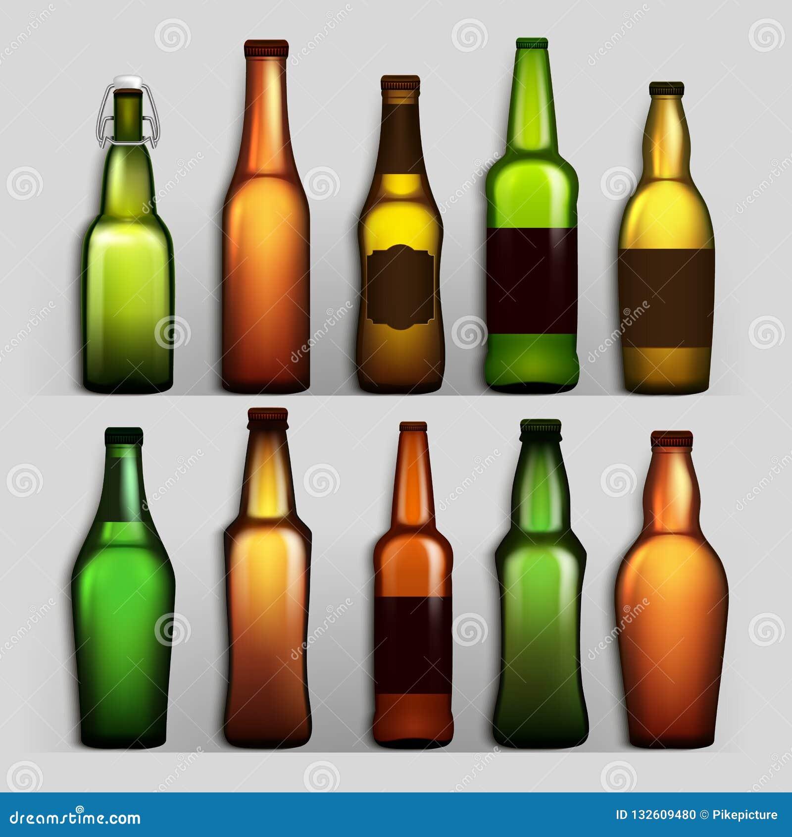 啤酒瓶集合传染媒介 工艺啤酒绿色的,黄色,布朗另外空的玻璃 大模型产品的空白模板