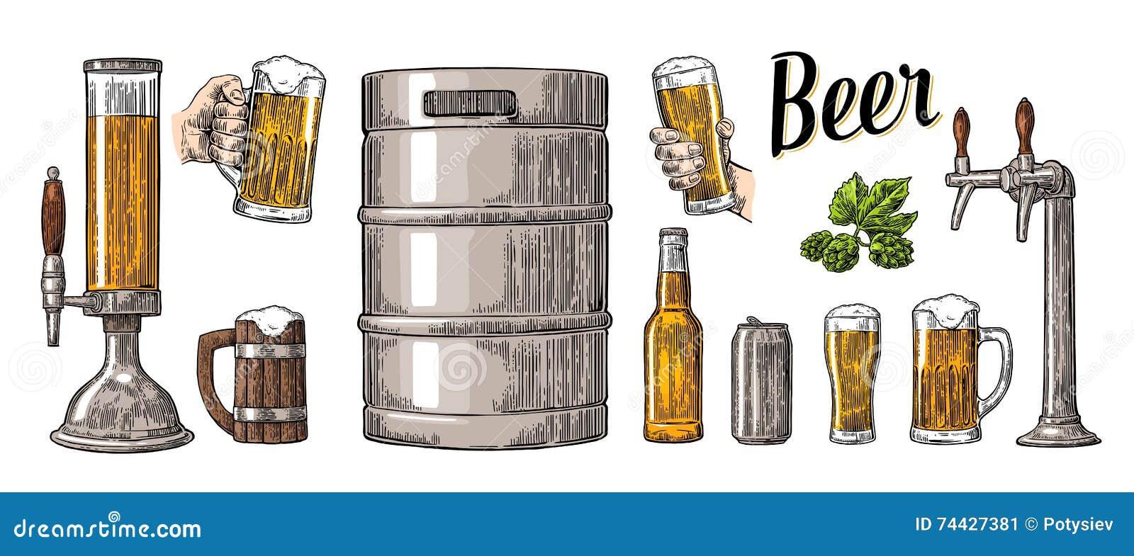 啤酒集合用拿着玻璃的两只手抢劫并且轻拍,能,小桶,瓶