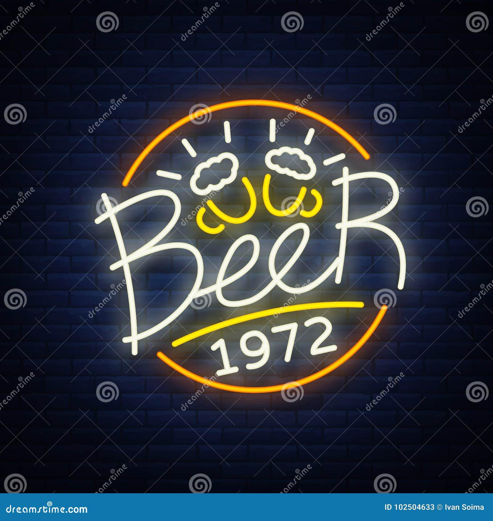 啤酒霓虹灯广告商标,标签,象征传染媒介例证,在霓虹样式的设计象征 明亮的牌,发光的横幅