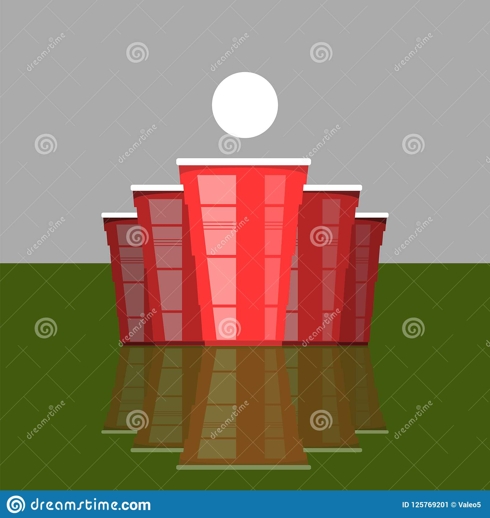 啤酒pong比赛 红色杯和白色网球 党的趣味游戏 传统饮用的时间