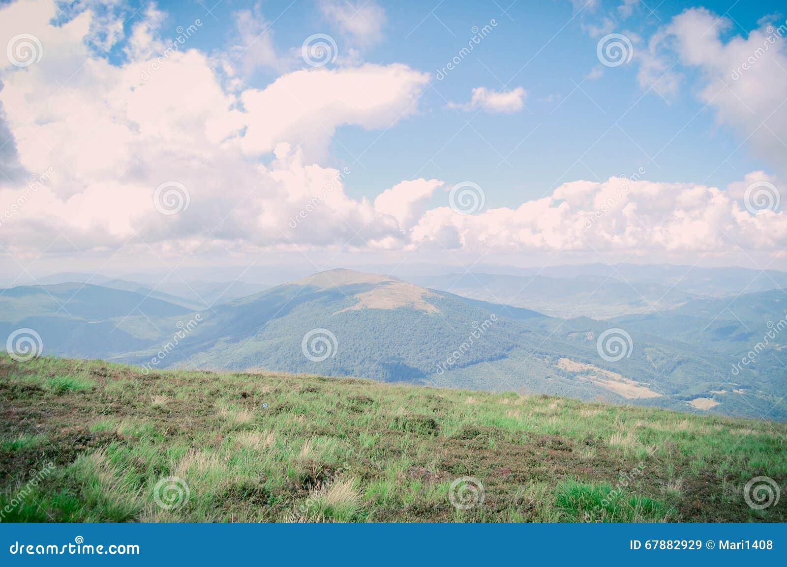 喀尔巴阡山脉的明亮的风景