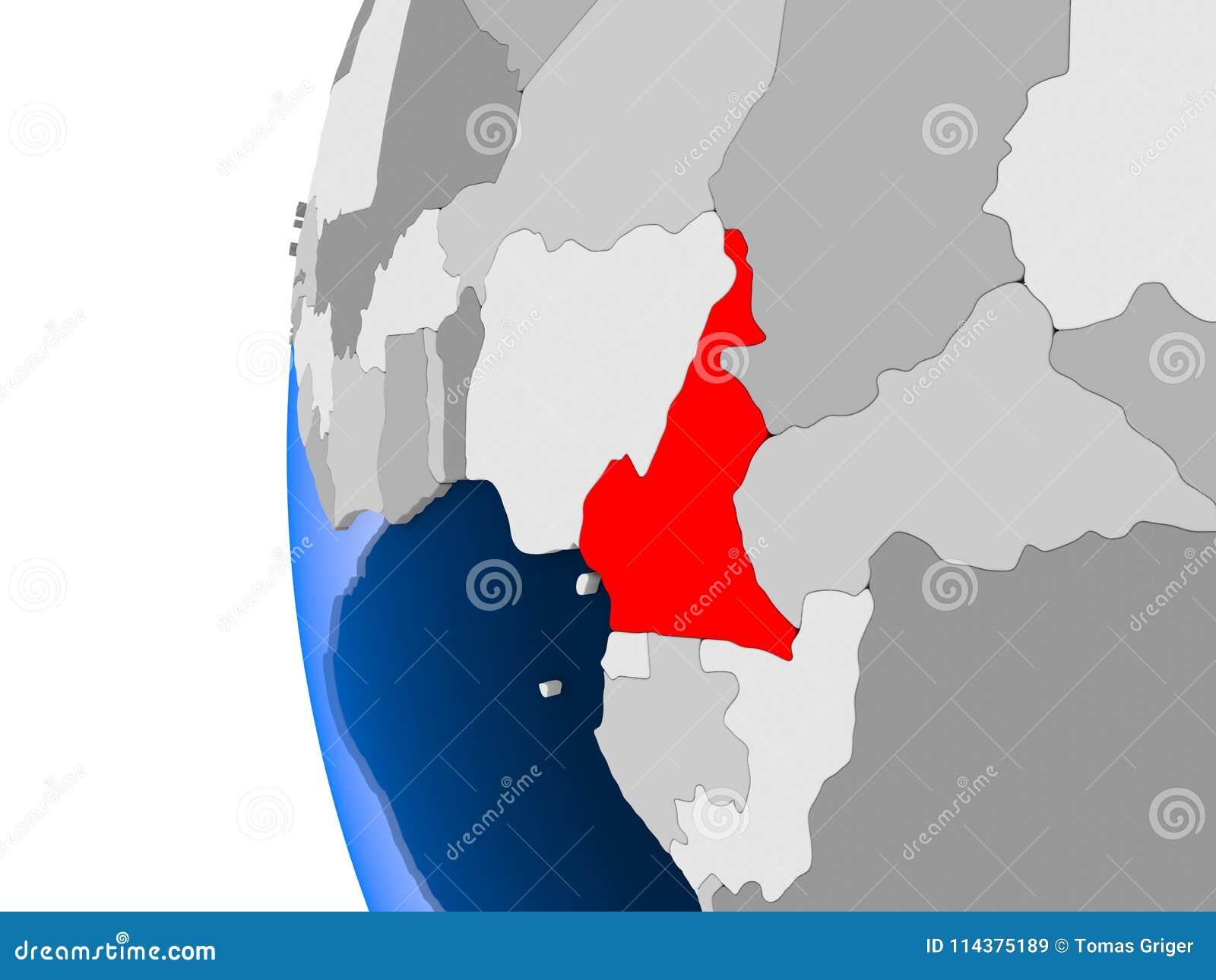 喀麦隆的地图政治地球的