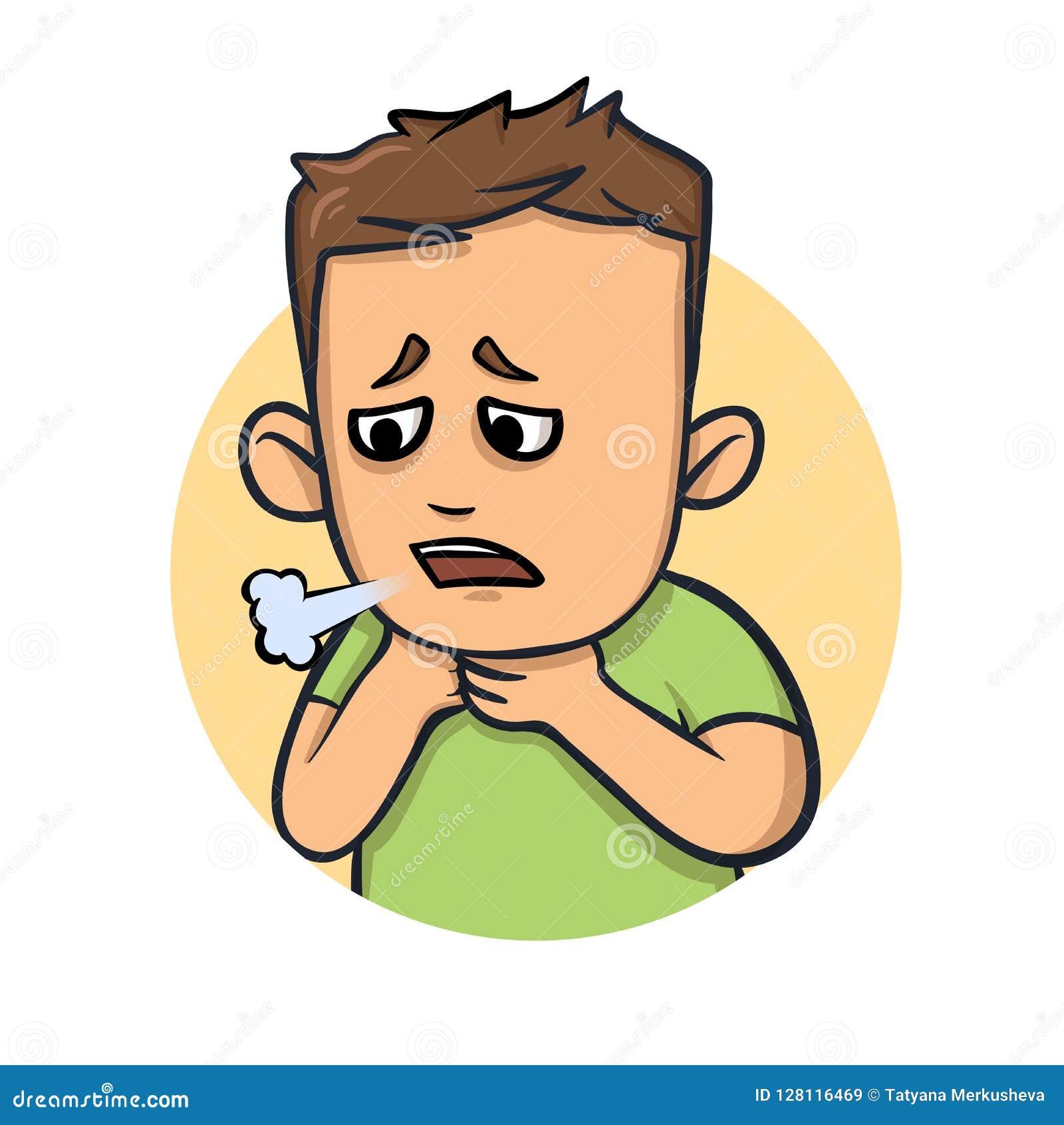 喘息,咳嗽男孩 憔悴的标志 平的传染媒介例证 背景查出的白色