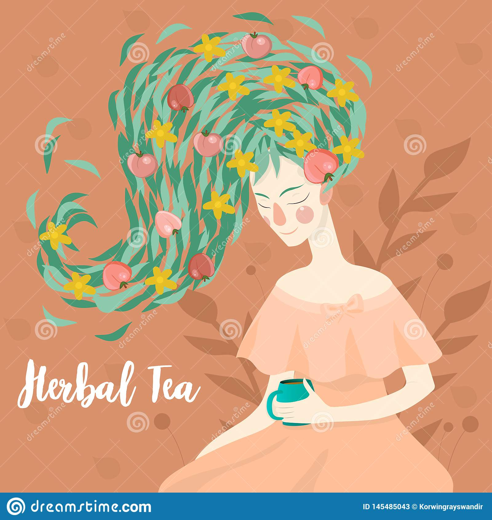 喝一个杯子清凉茶传染媒介图象的一名俏丽的妇女的画象