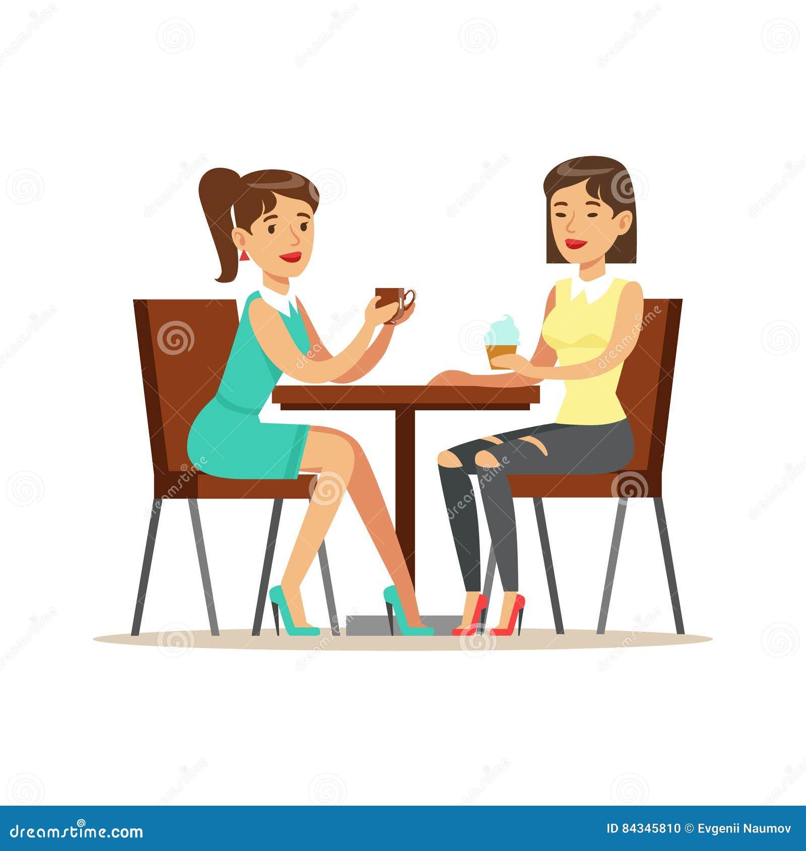 喝在咖啡馆,一部分的愉快的最好的朋友咖啡的友谊例证系列