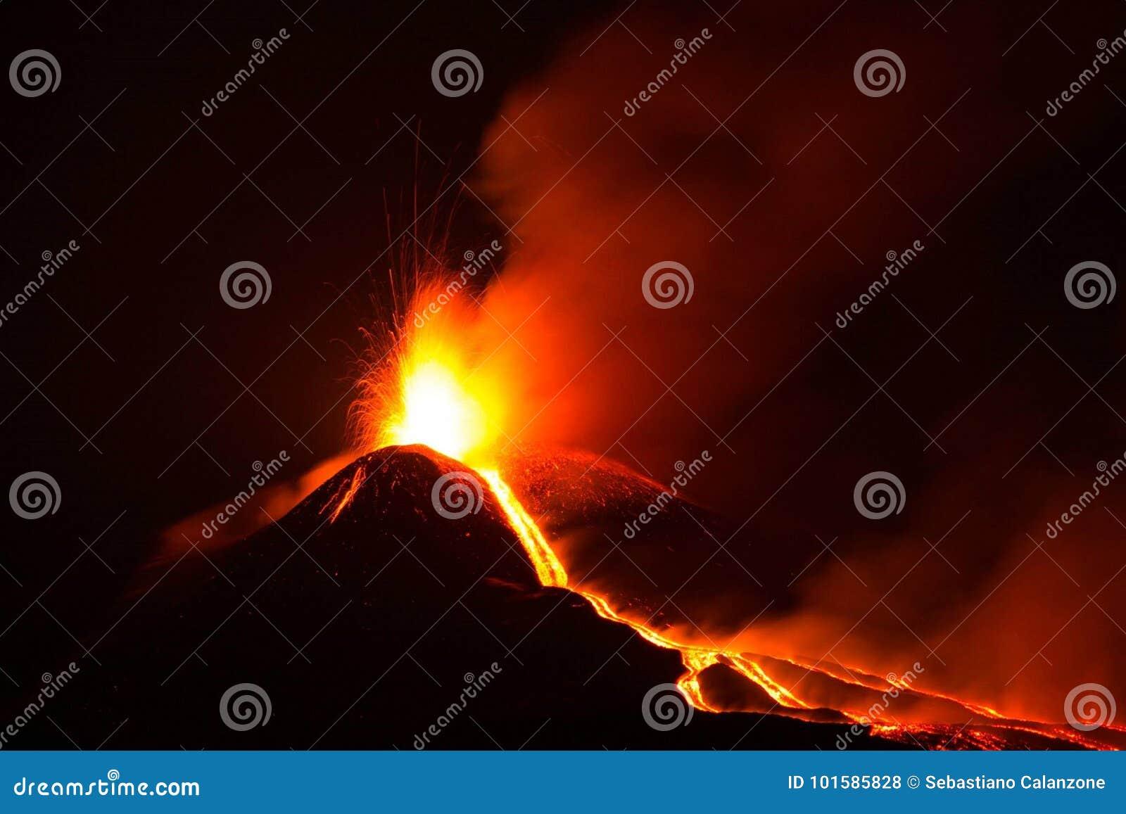 喷发与爆炸和熔岩流的Etna火山