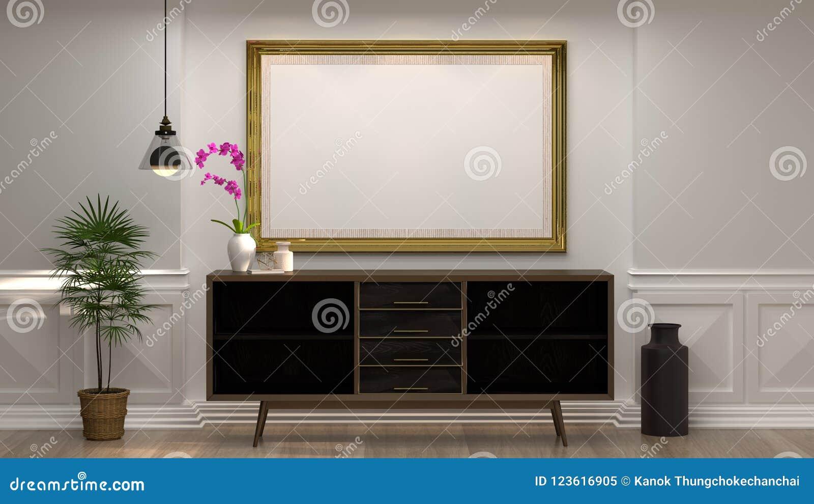 嘲笑与木内阁的空的照片框架有在空的白色墙壁装饰项目最小的样式前面的灯的在空的屋子里