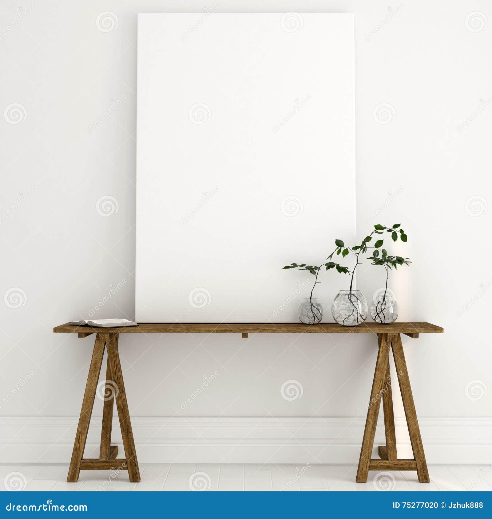 嘲笑在一张木桌上的一块白色帆布在明亮的内部