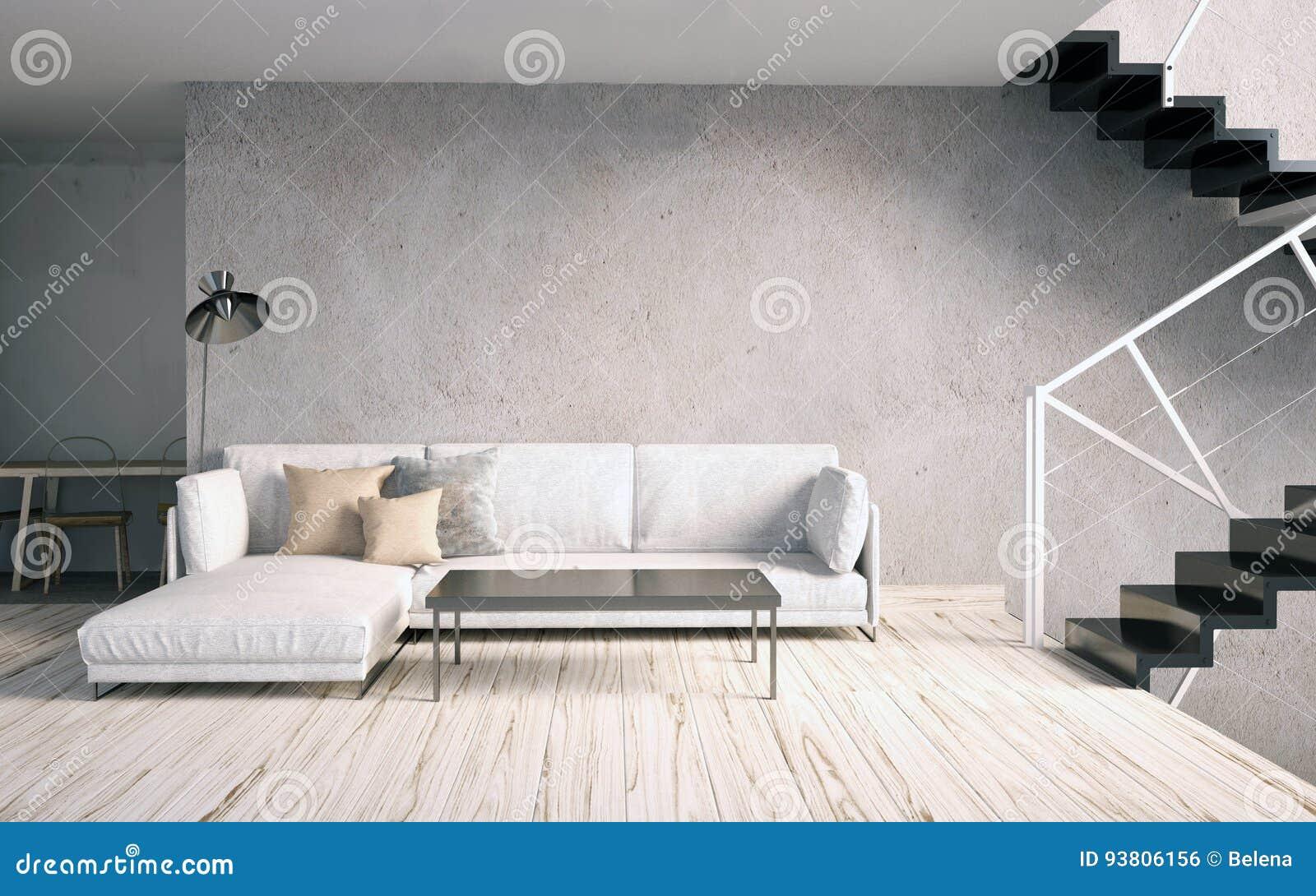 嘲笑在内部的墙壁与台阶和沙发 客厅hipst