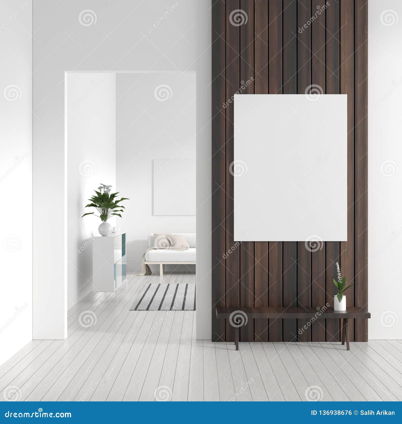 嘲笑在斯堪的纳维亚样式行家内部的海报框架 现代客厅白色现代内部  3d例证