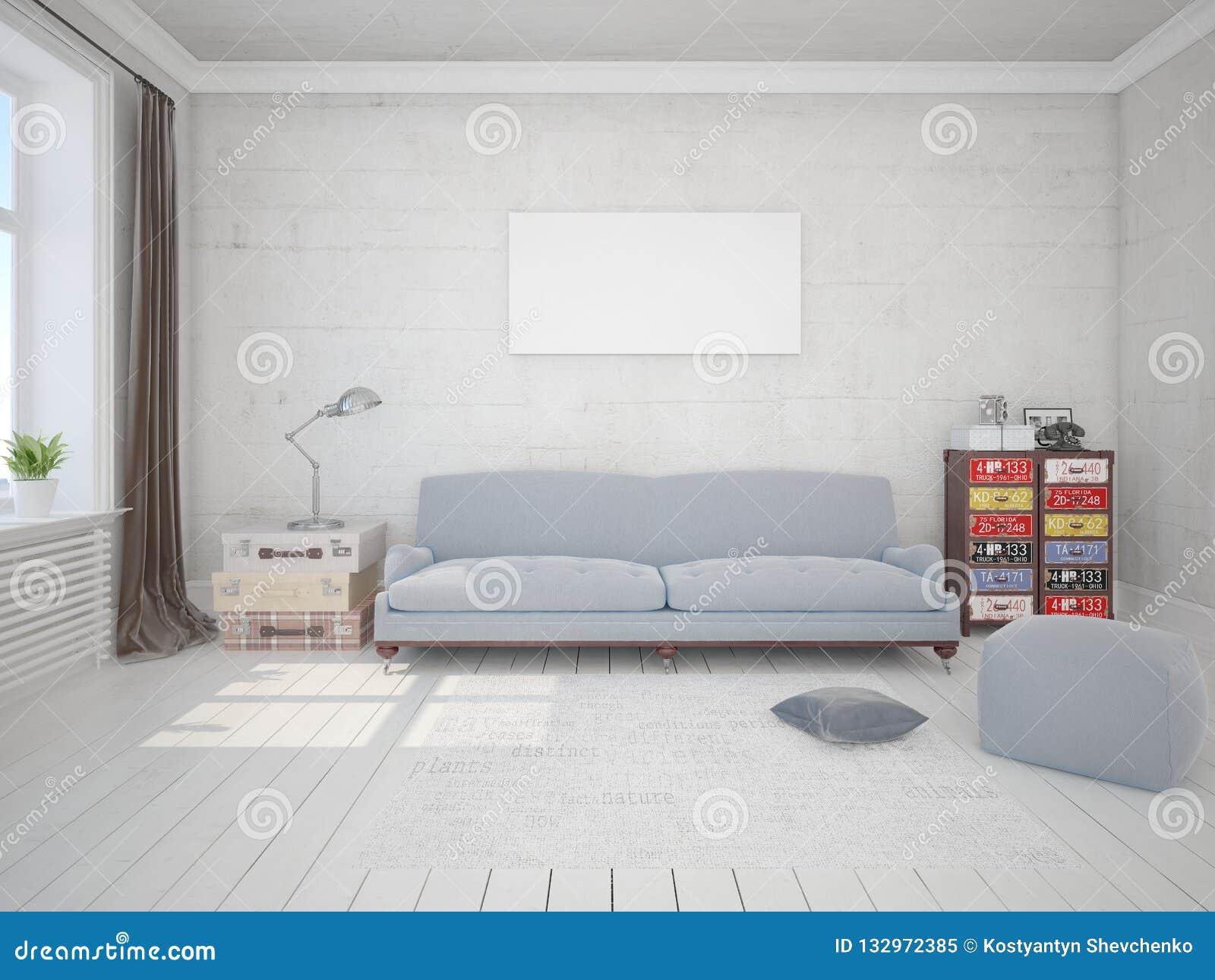嘲笑有一个原始的沙发的时兴的客厅