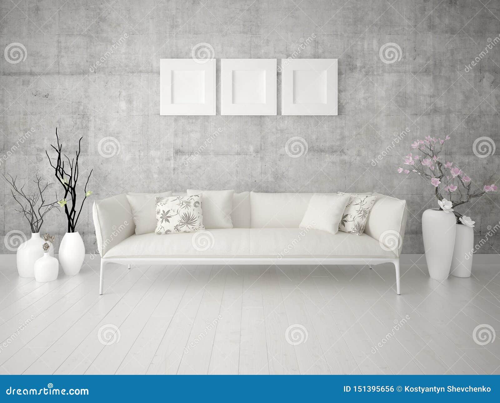 嘲笑有一个经典轻的沙发的原始的客厅