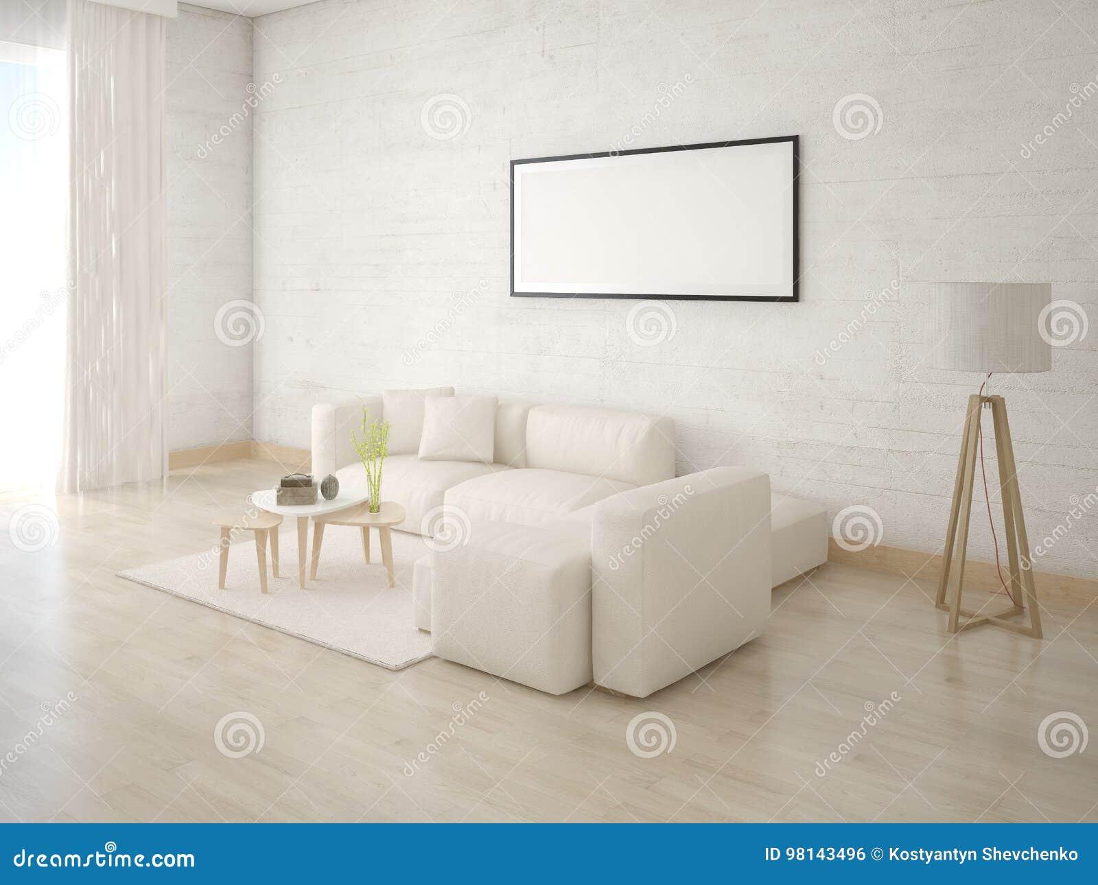 嘲笑有一个轻的沙发的一个舒适的客厅