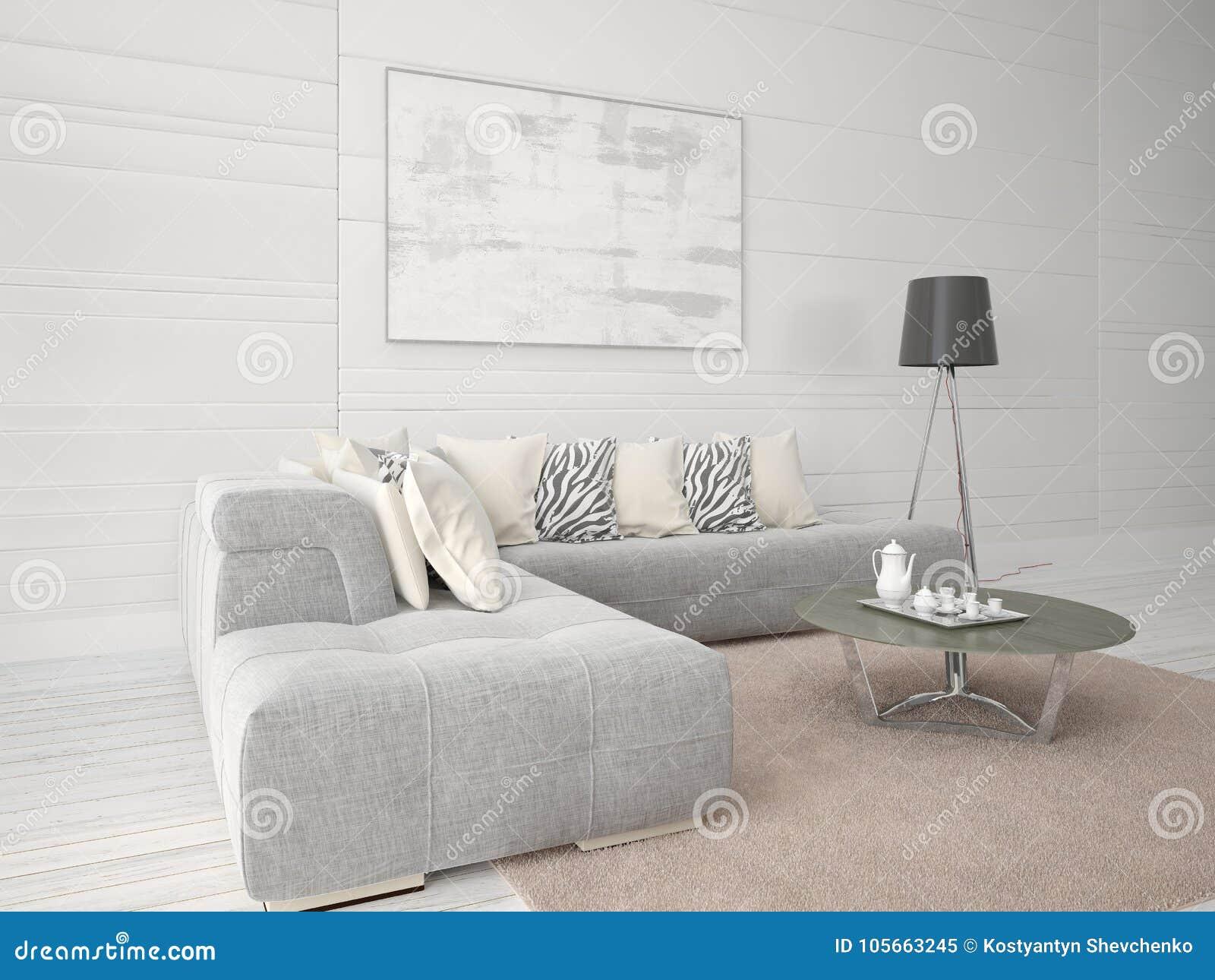 嘲笑有壁角沙发的一个时兴的客厅