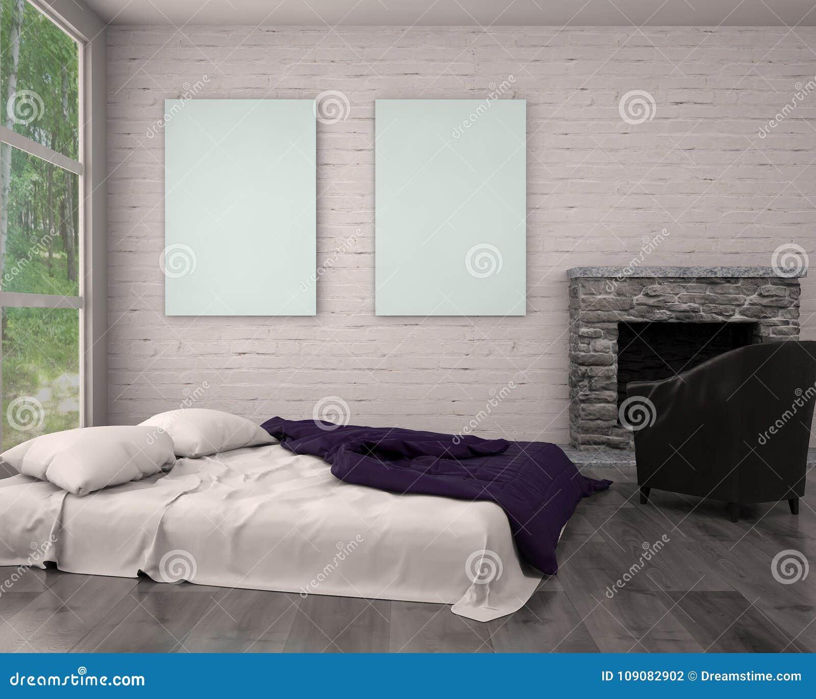 嘲笑海报框架在行家内部现代客厅