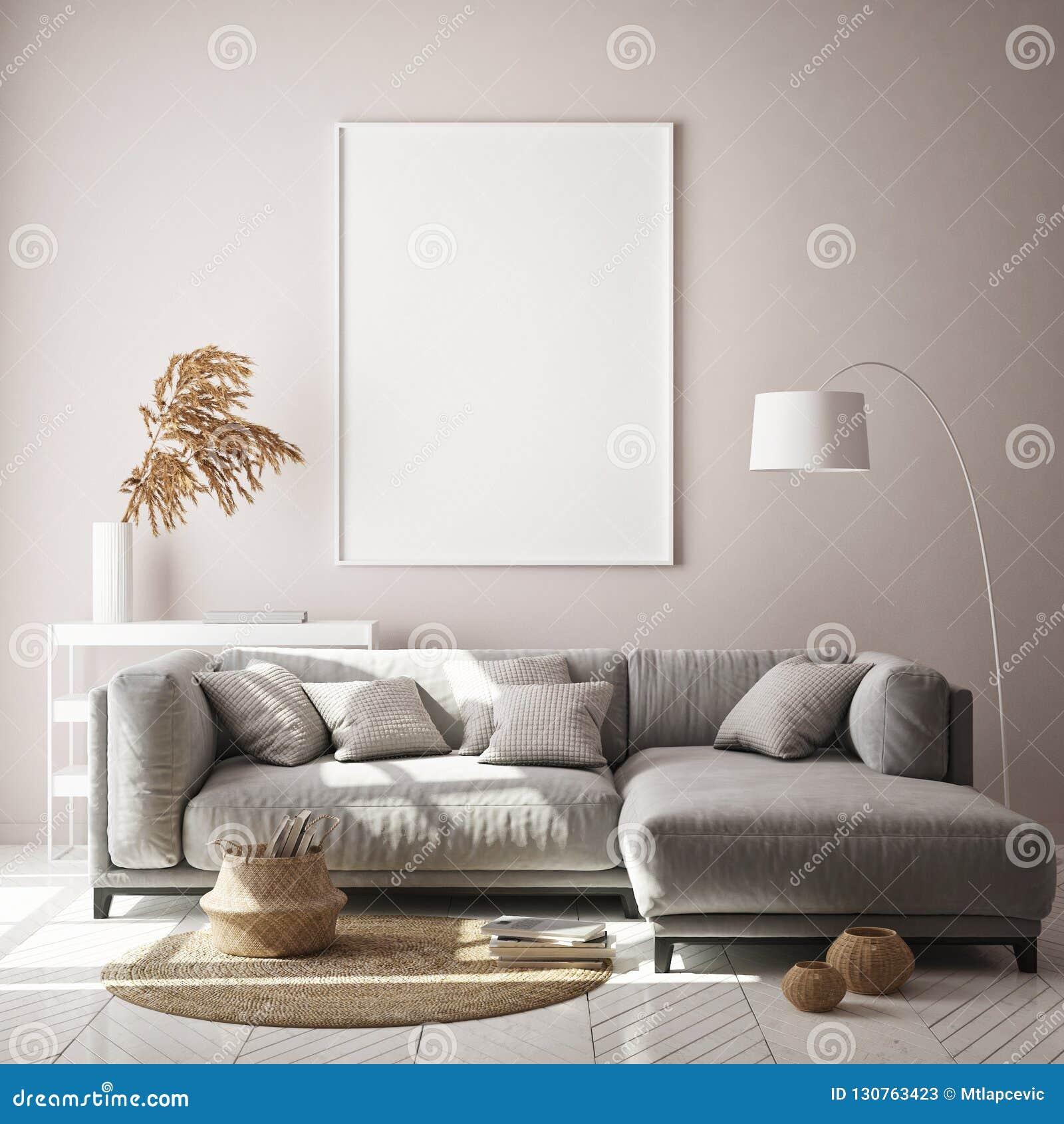 嘲笑海报框架在行家内部背景,客厅,斯堪的纳维亚样式, 3D中回报, 3D例证
