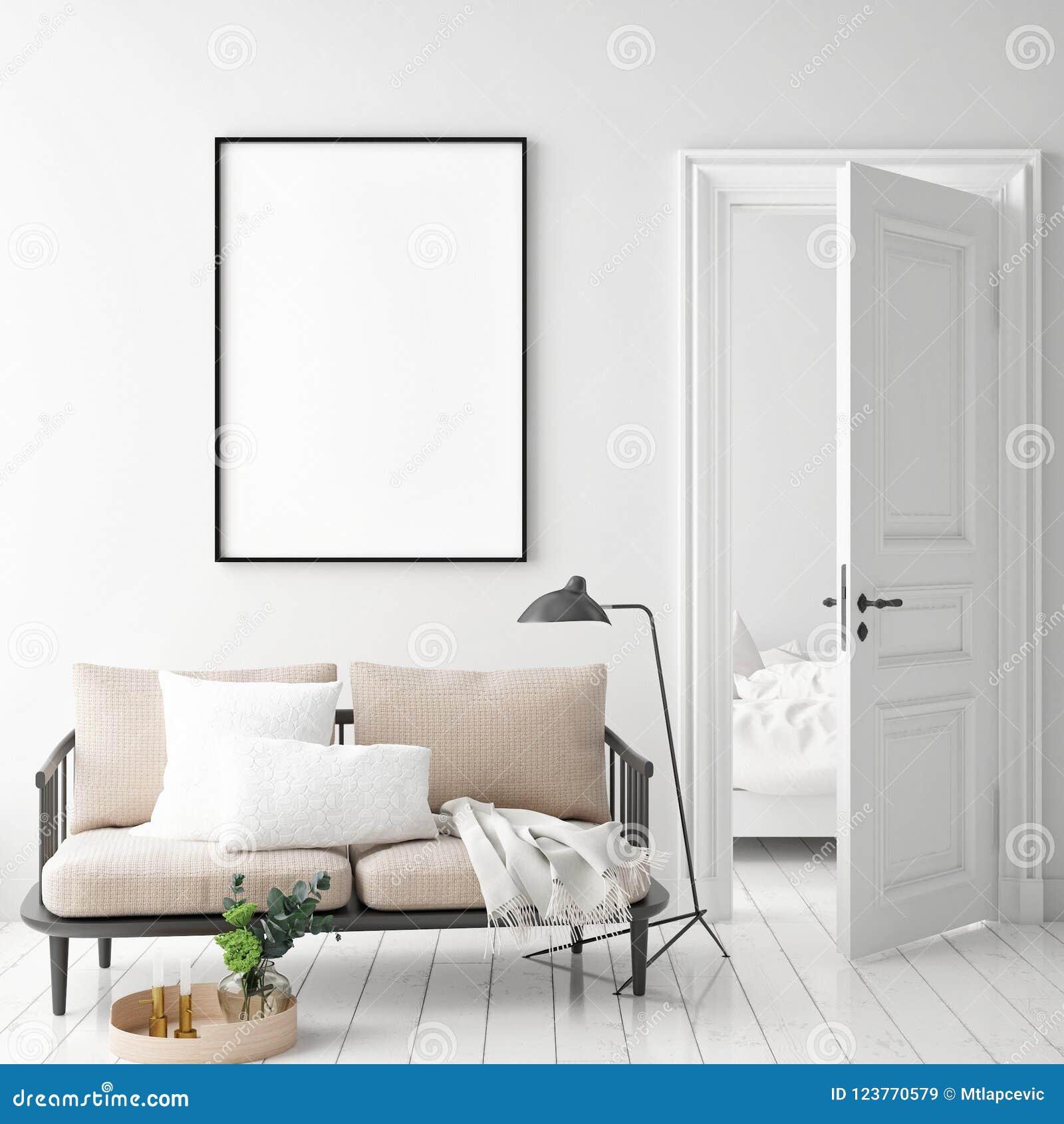 嘲笑海报框架在行家内部背景,斯堪的纳维亚样式中