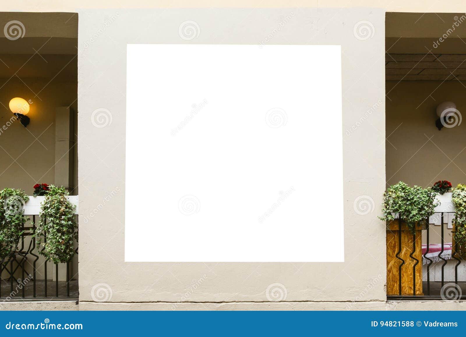 嘲笑 空白的广告牌,海报框架,做广告在墙壁上