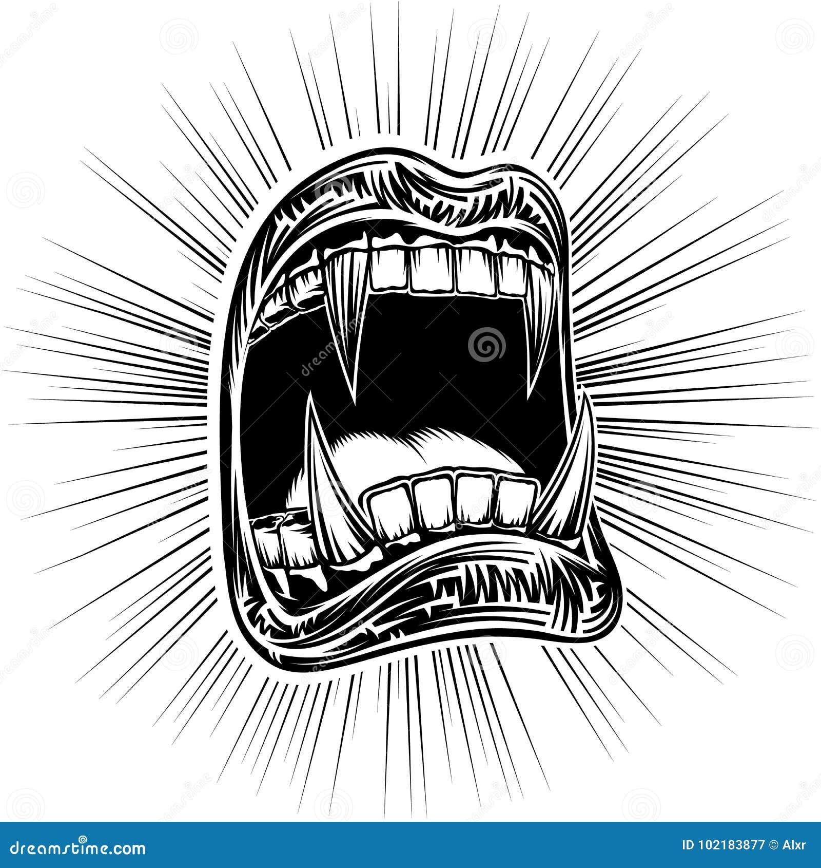 嘴开放万圣夜妖怪吸血鬼下颌犬齿邮票印刷品黑色