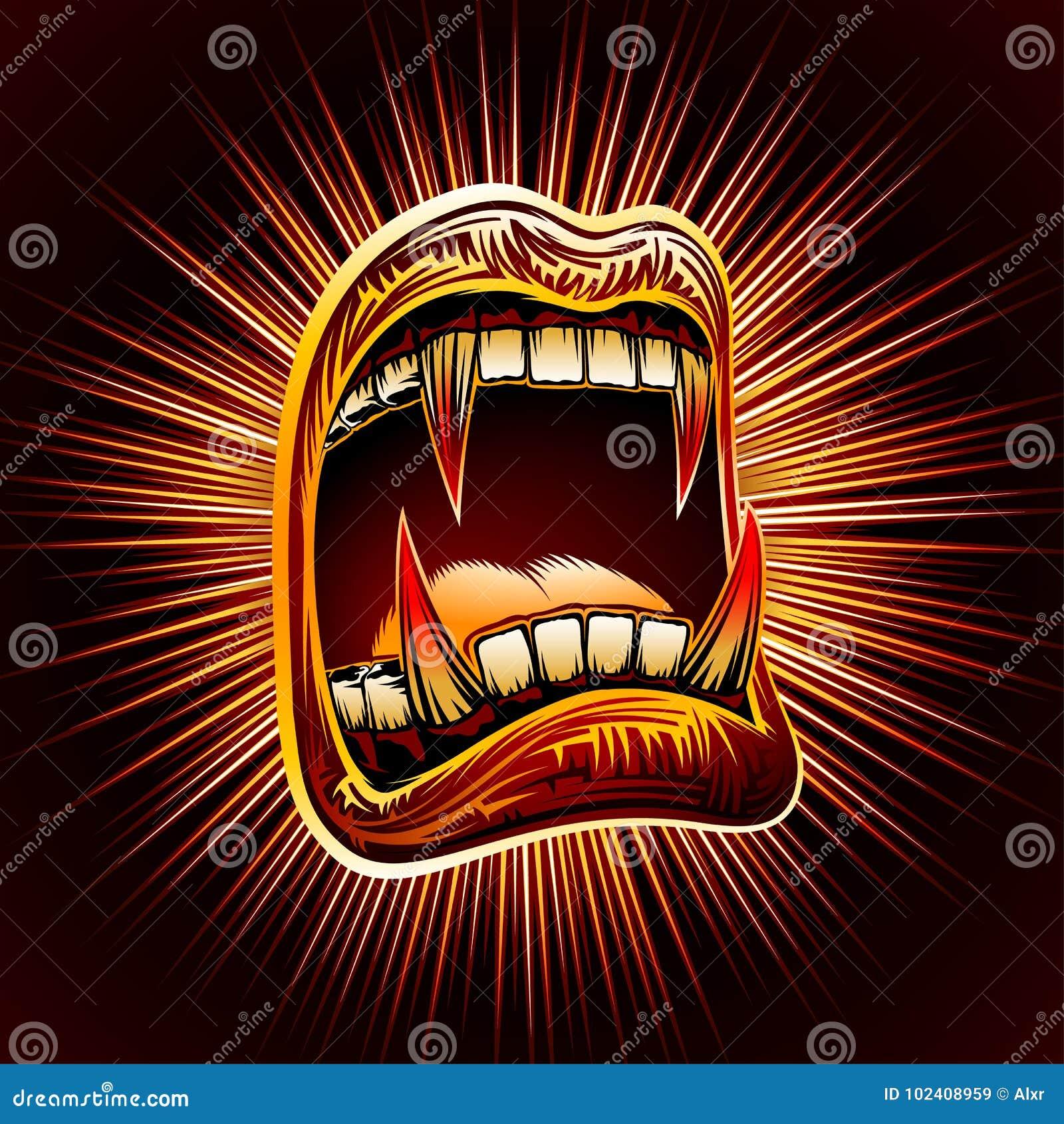 嘴开放血液犬齿万圣夜吸血鬼下颌犬齿邮票印刷品