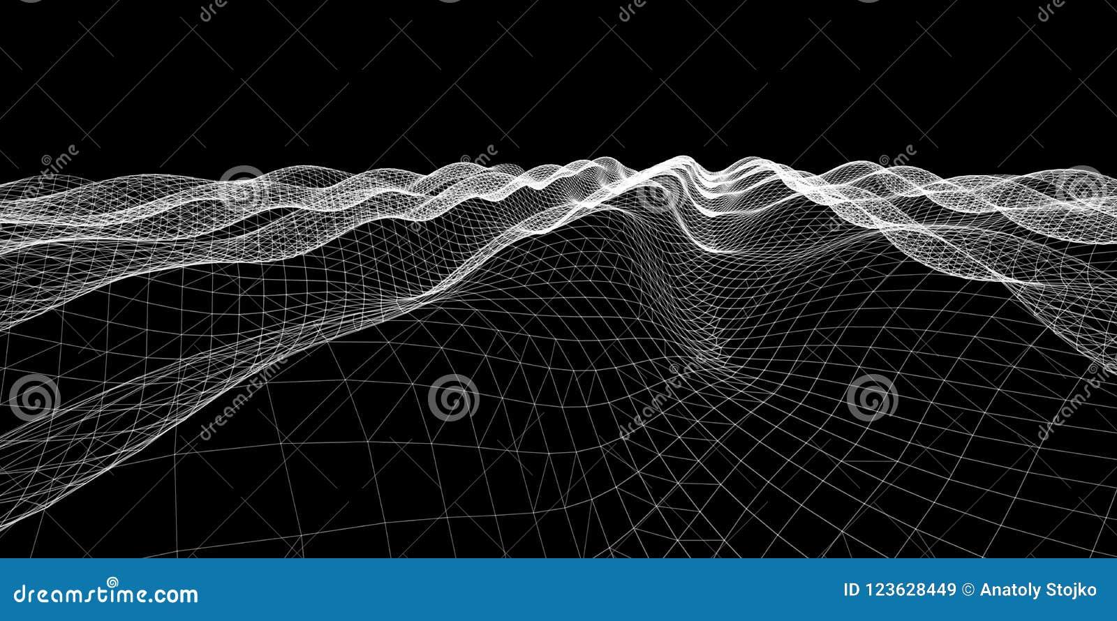 噪声波浪 抽象数字式栅格背景 技术backgr