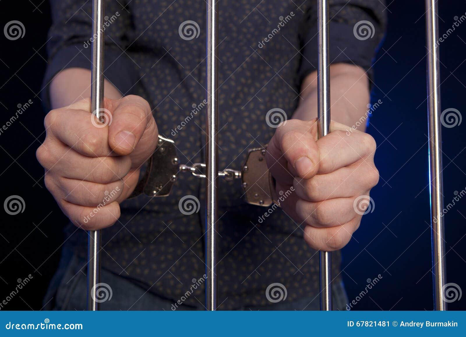 囚犯的手钢格子的