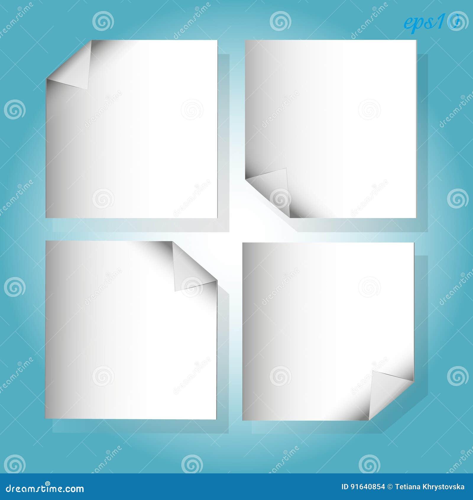 四个在蓝色的白色片断纸