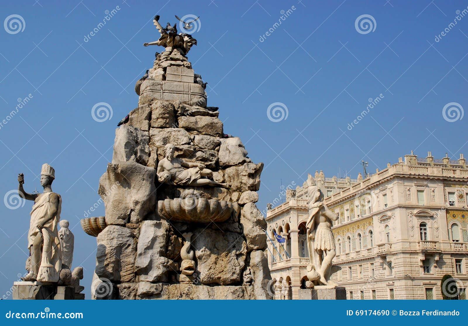 四个大陆的喷泉在的里雅斯特,弗留利Venezia朱莉娅(意大利)