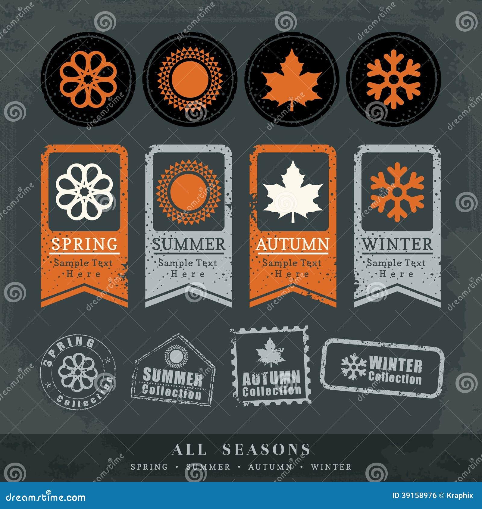 四个季节标志传染媒介邮票标签
