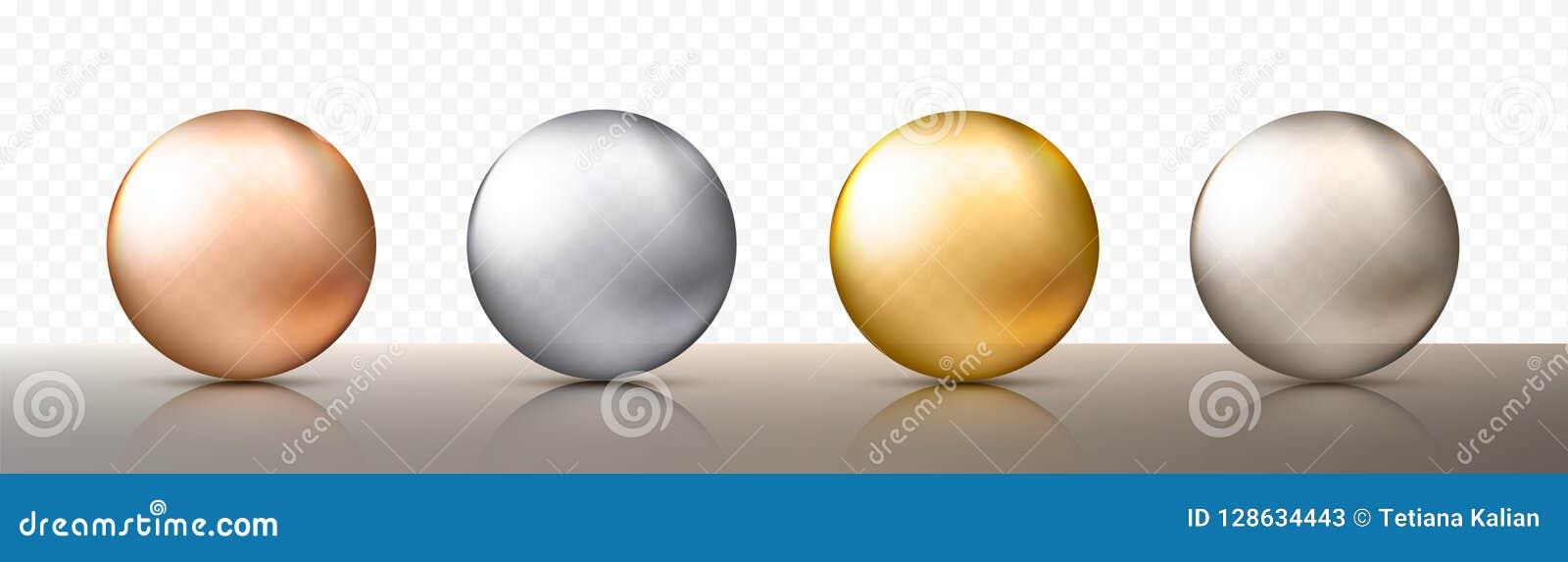 四个现实透明球形或球用金属金子和银颜色不同的树荫  也corel凹道例证向量