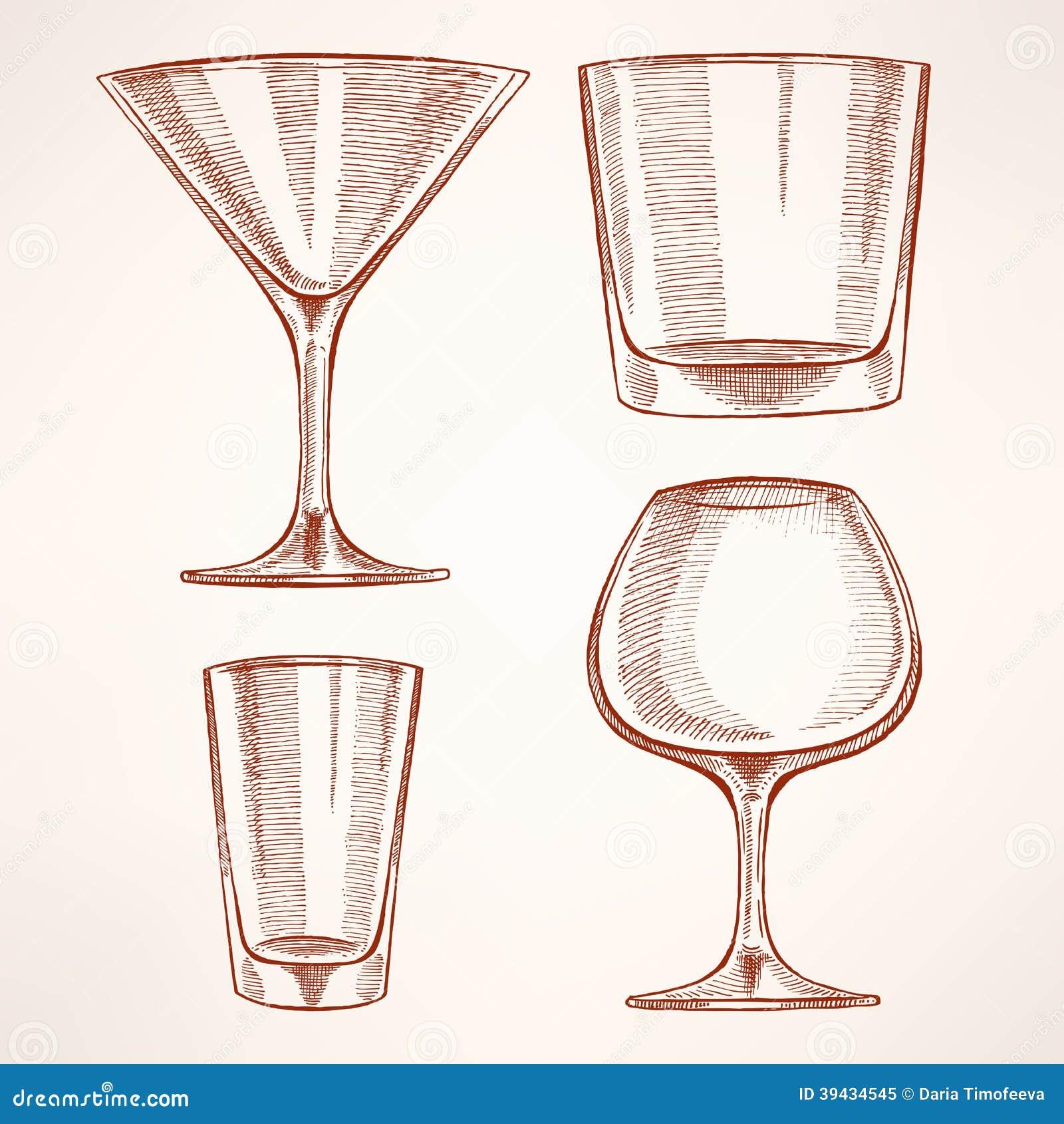四块手拉的酒精玻璃