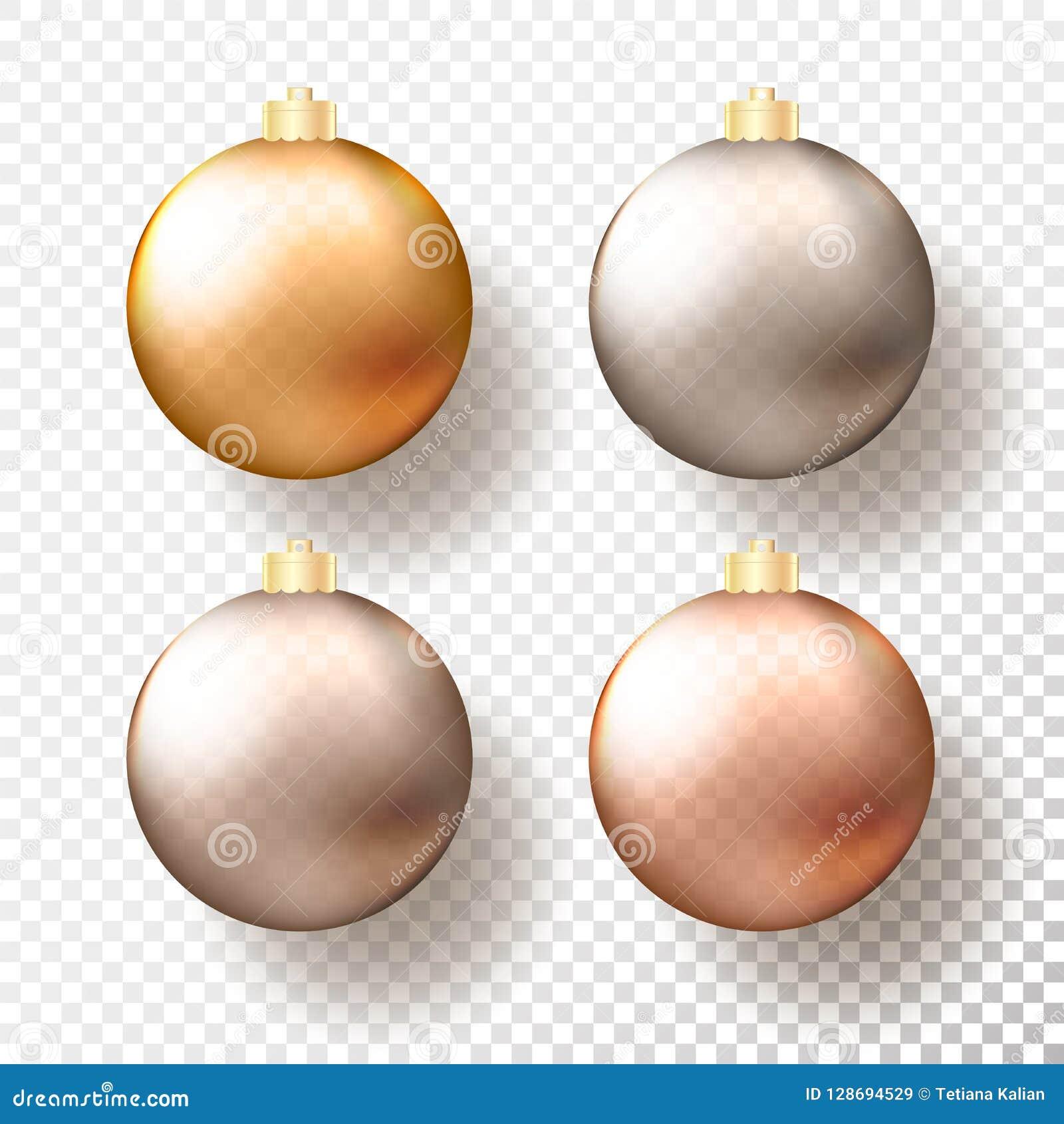 四现实圣诞节或新年透明中看不中用的物品、球形或者球用金属金子不同的树荫和
