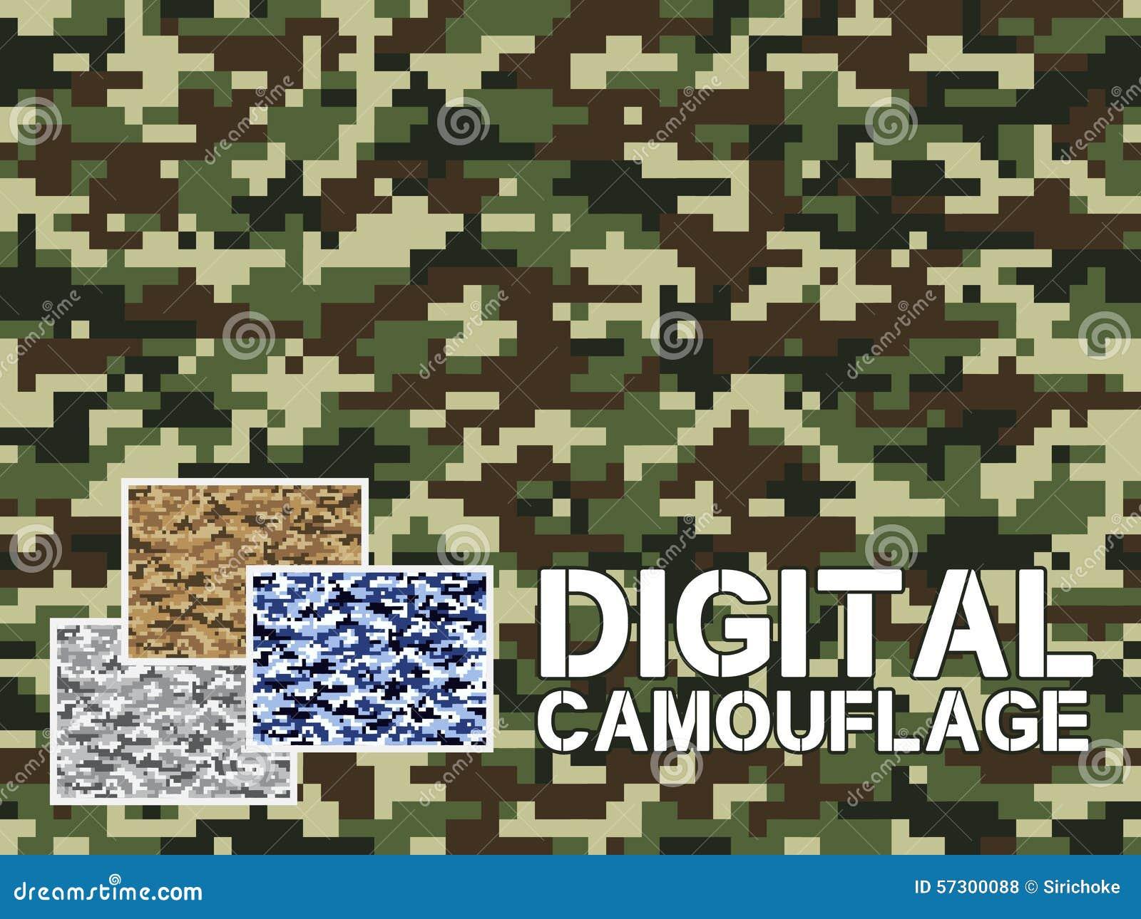 四种不同背景的,衣物,纺织品服装,墙纸颜色数字式伪装军事样式||非常易使用