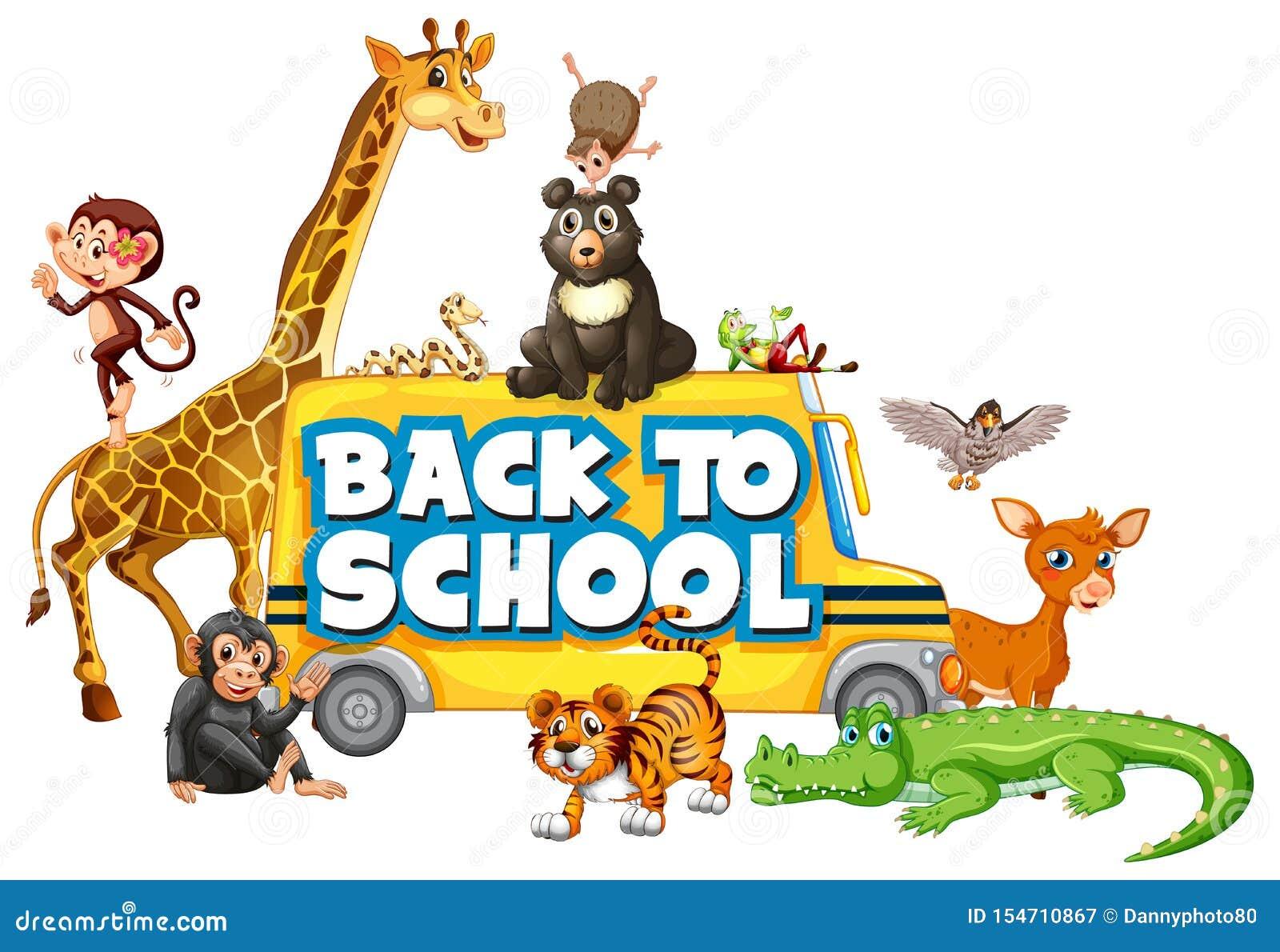 回到与动物的学校模板