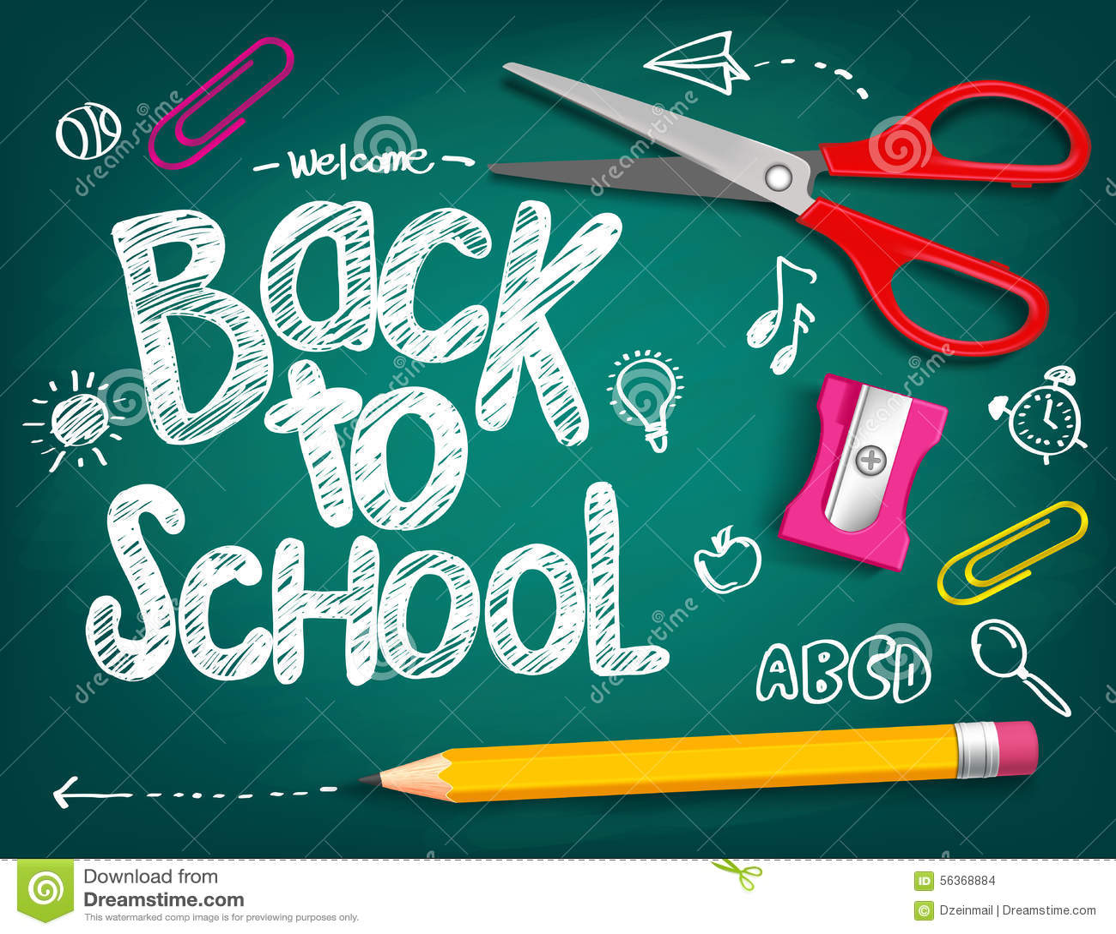 回到在粉笔板写的学校标题的欢迎