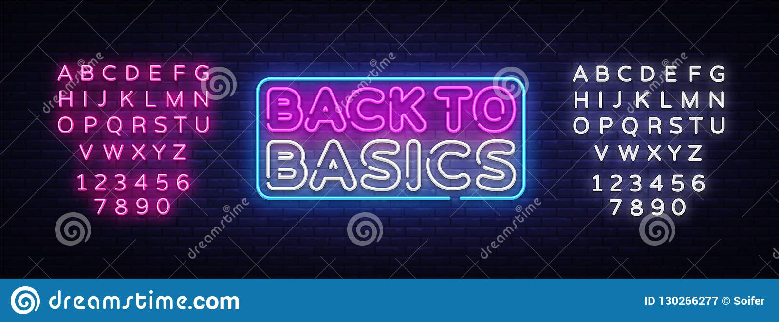 回到基本霓虹文本传染媒介设计模板 回到基本霓虹商标,轻的横幅设计元素五颜六色现代