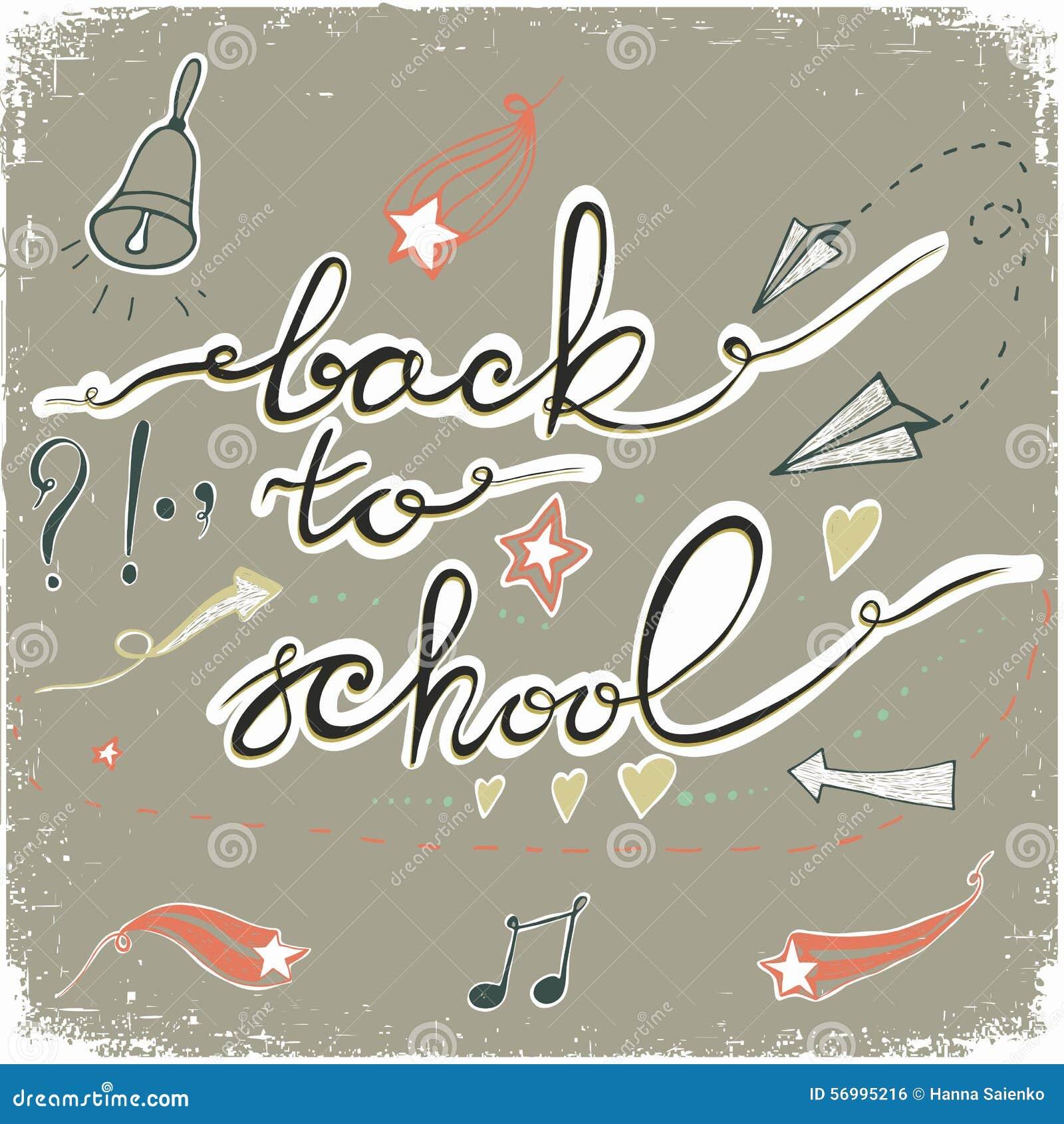 回到学校乱画与响铃、星、心脏和箭头 也corel凹道例证向量