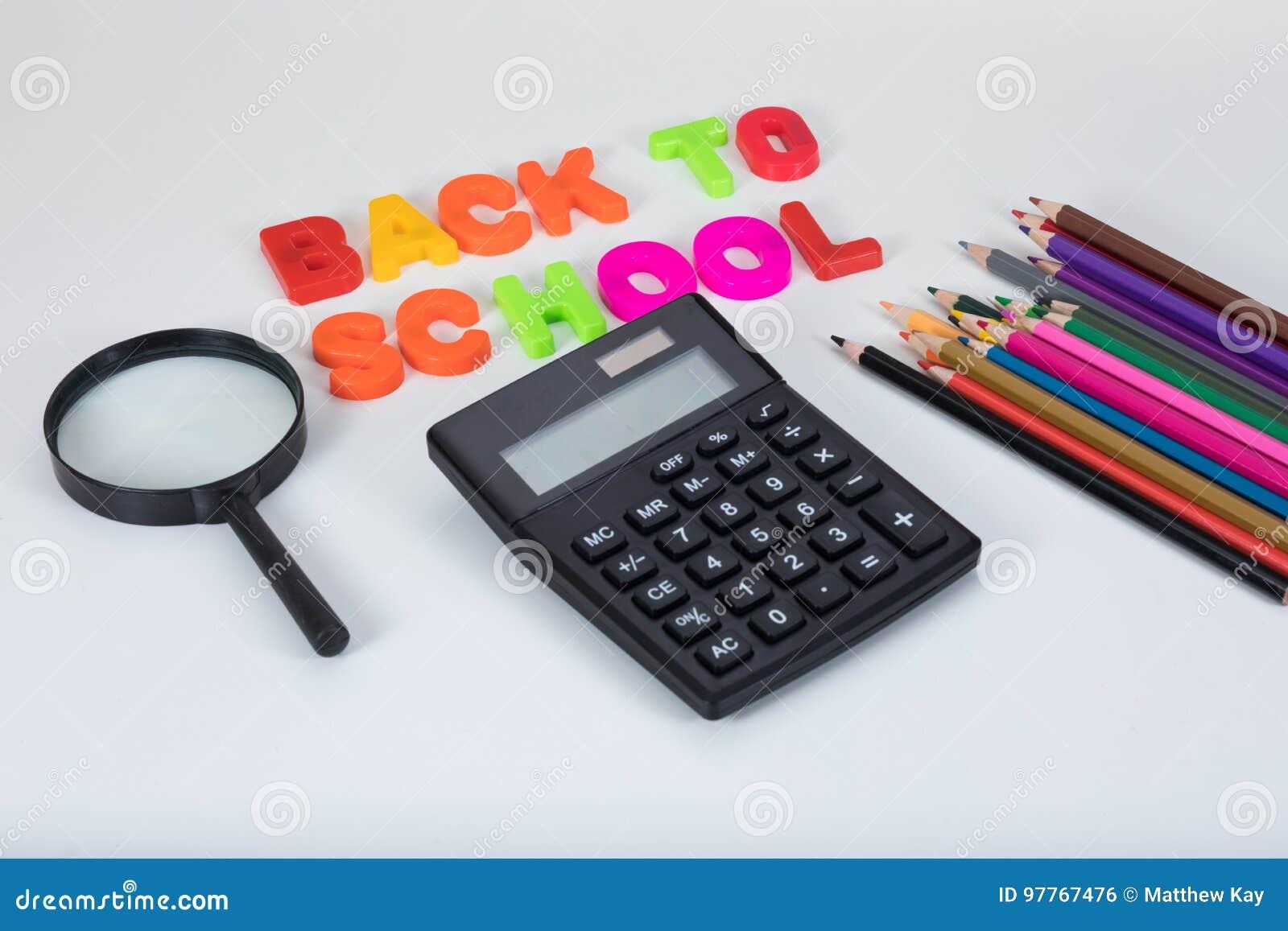 回到学校信件,计算器和固定式