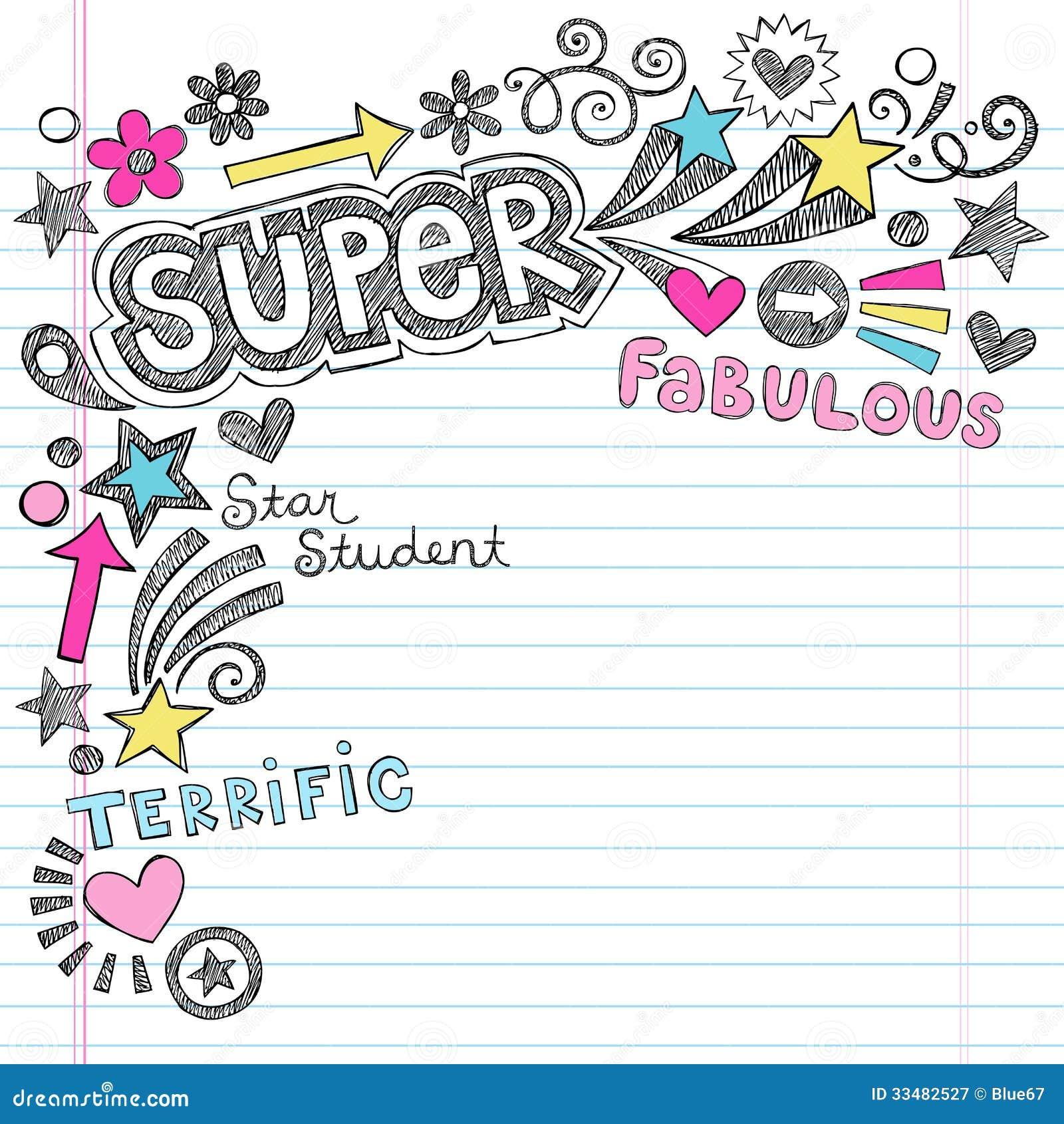 回到学校笔记本Doodl的超级学生称赞