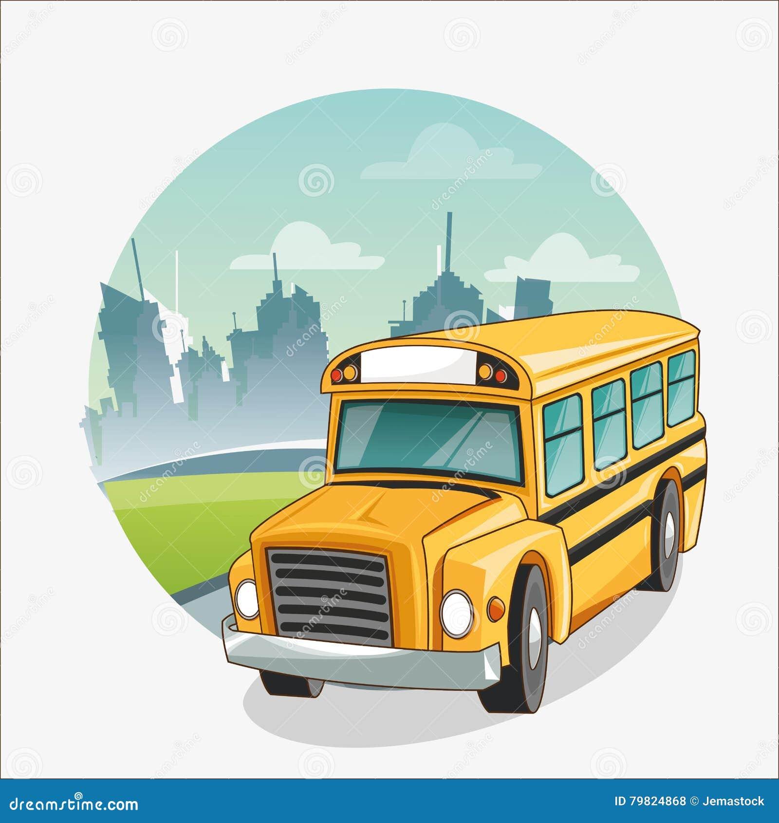 回到学校设计黄色公共汽车