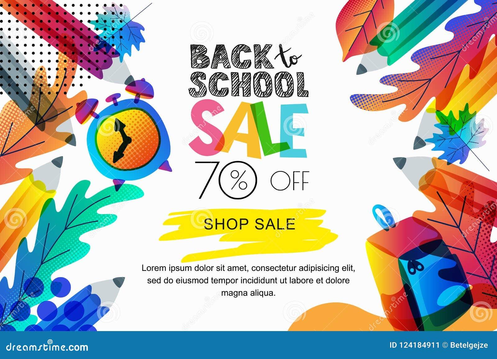 回到学校销售横幅,海报背景的传染媒介 颜色离开,铅笔,时钟,在白色背景的背包
