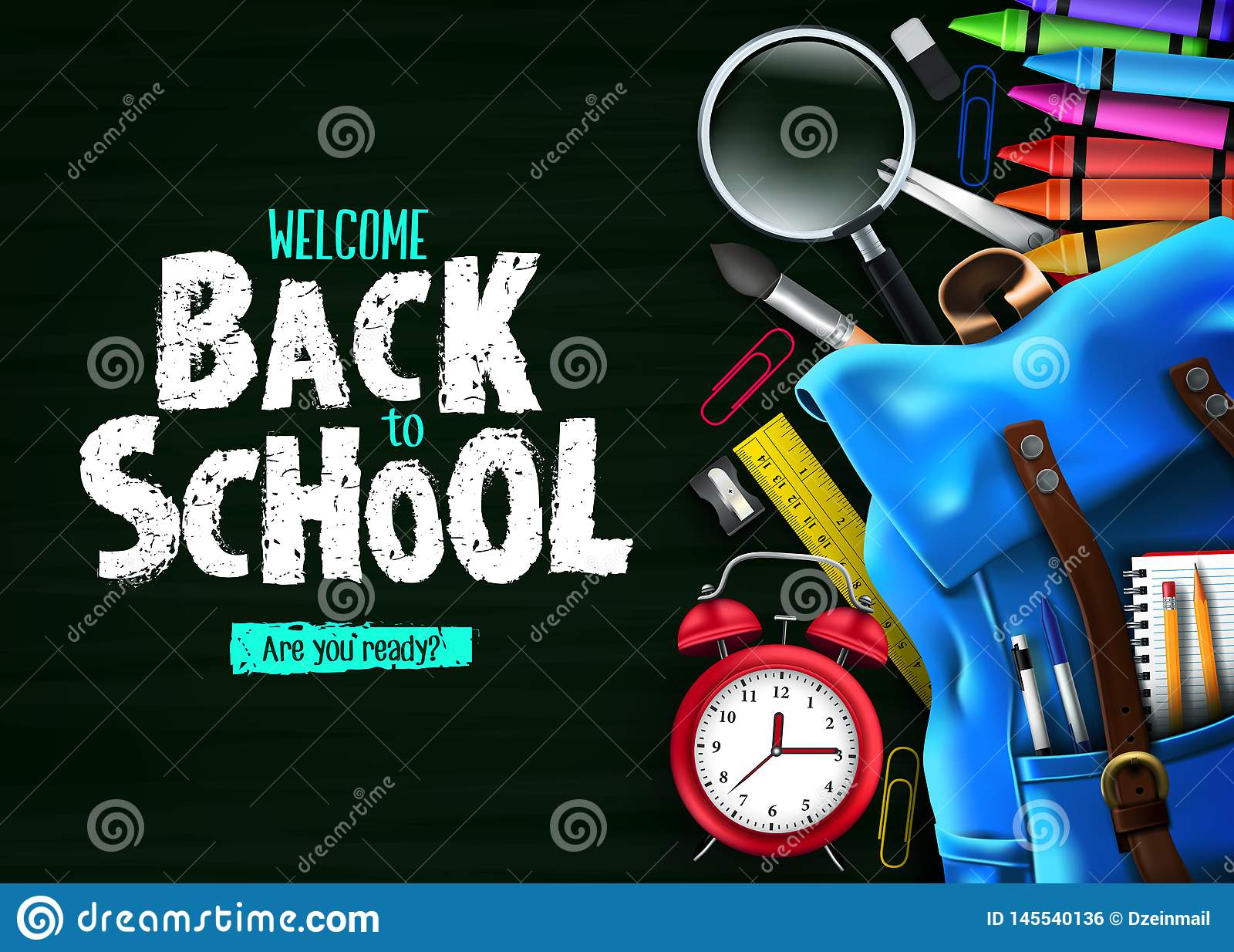 回到绿色黑板背景横幅的学校与蓝色背包和学校用品