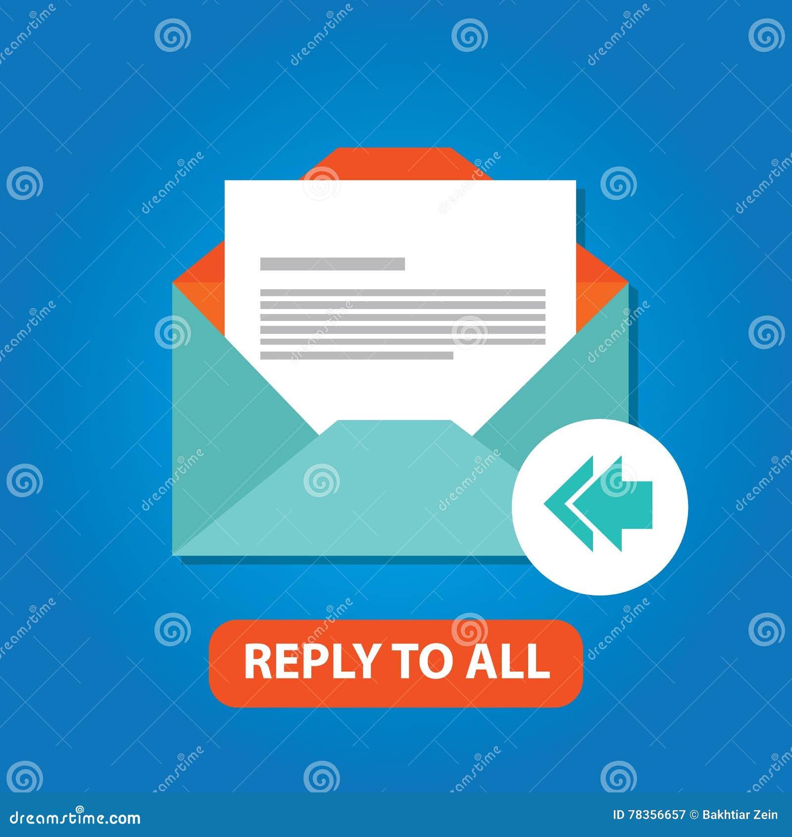 回复所有电子邮件象传染媒介平的箭头后面