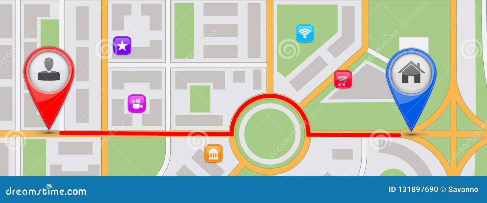 回家目的地的路线 所有背景更改城市上色无缝的映射选择分隔的样片向量的容易的单元文件层