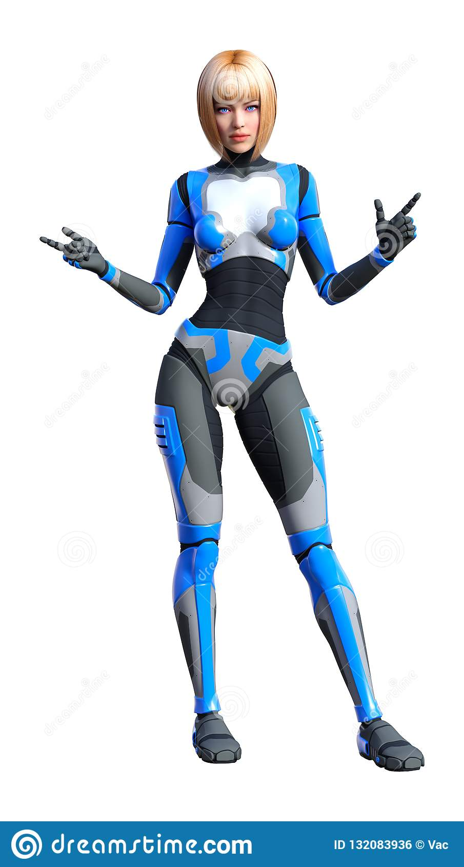 回报在白色的3D女性机器人