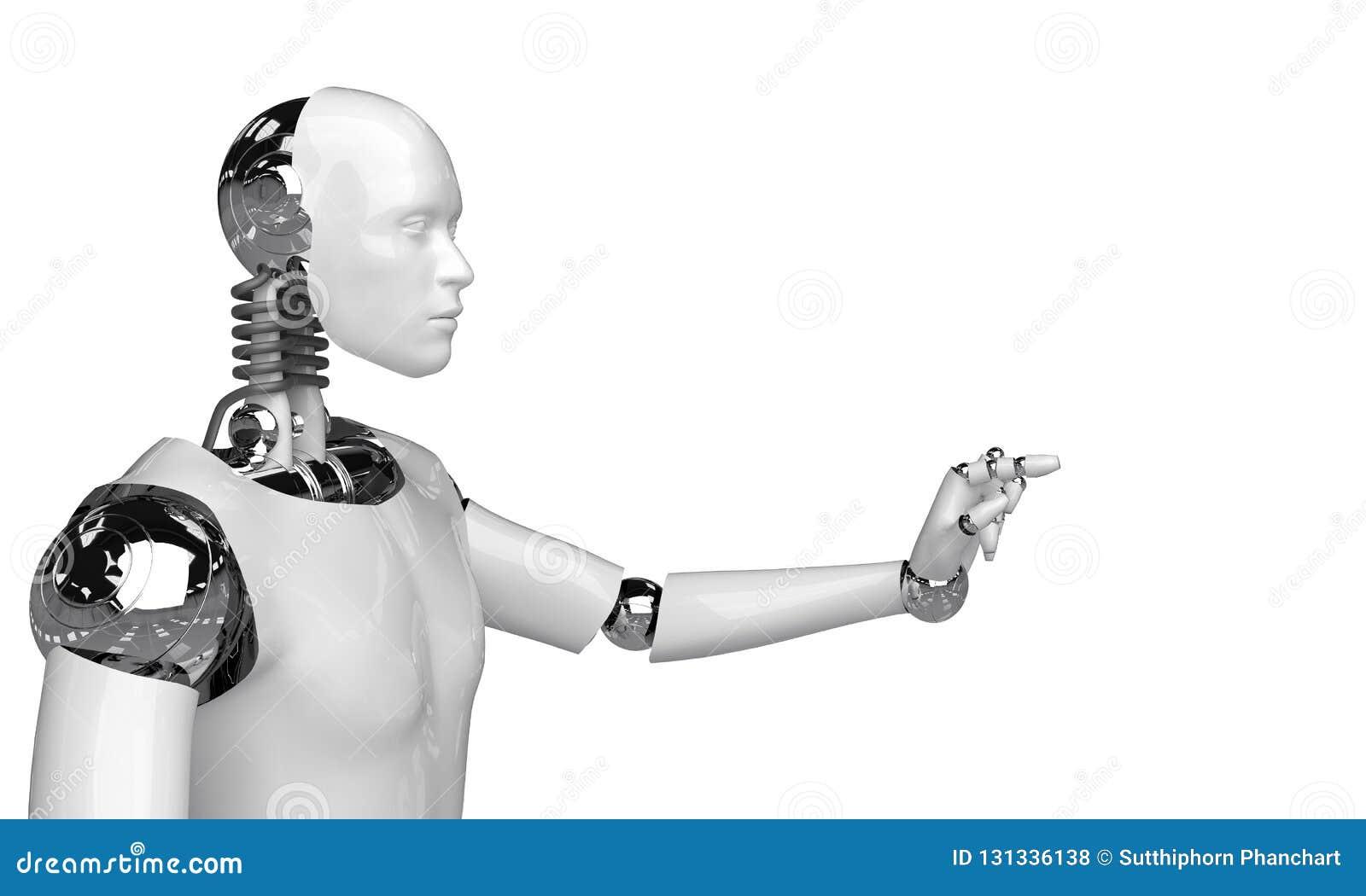 回报有人的特点的机器人的3d认为和选择某事机器人在白色背景的点对象
