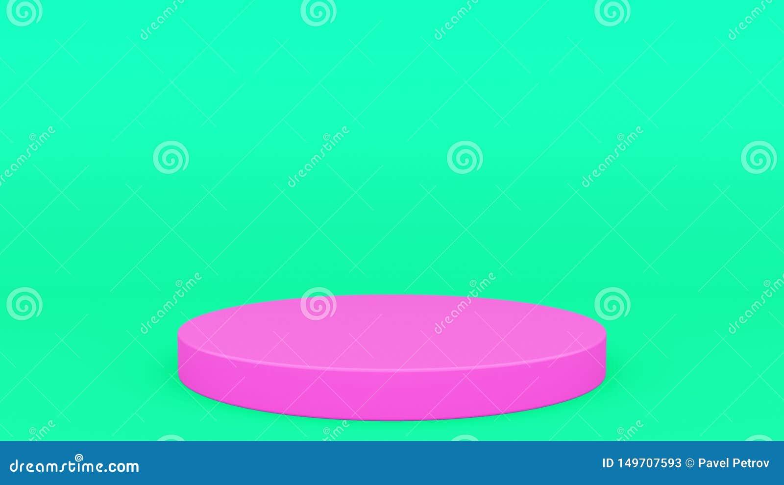 回报现代minimalistic嘲笑的圆柱形指挥台绿色和桃红色场面最小的3d,空白的模板,空的陈列室