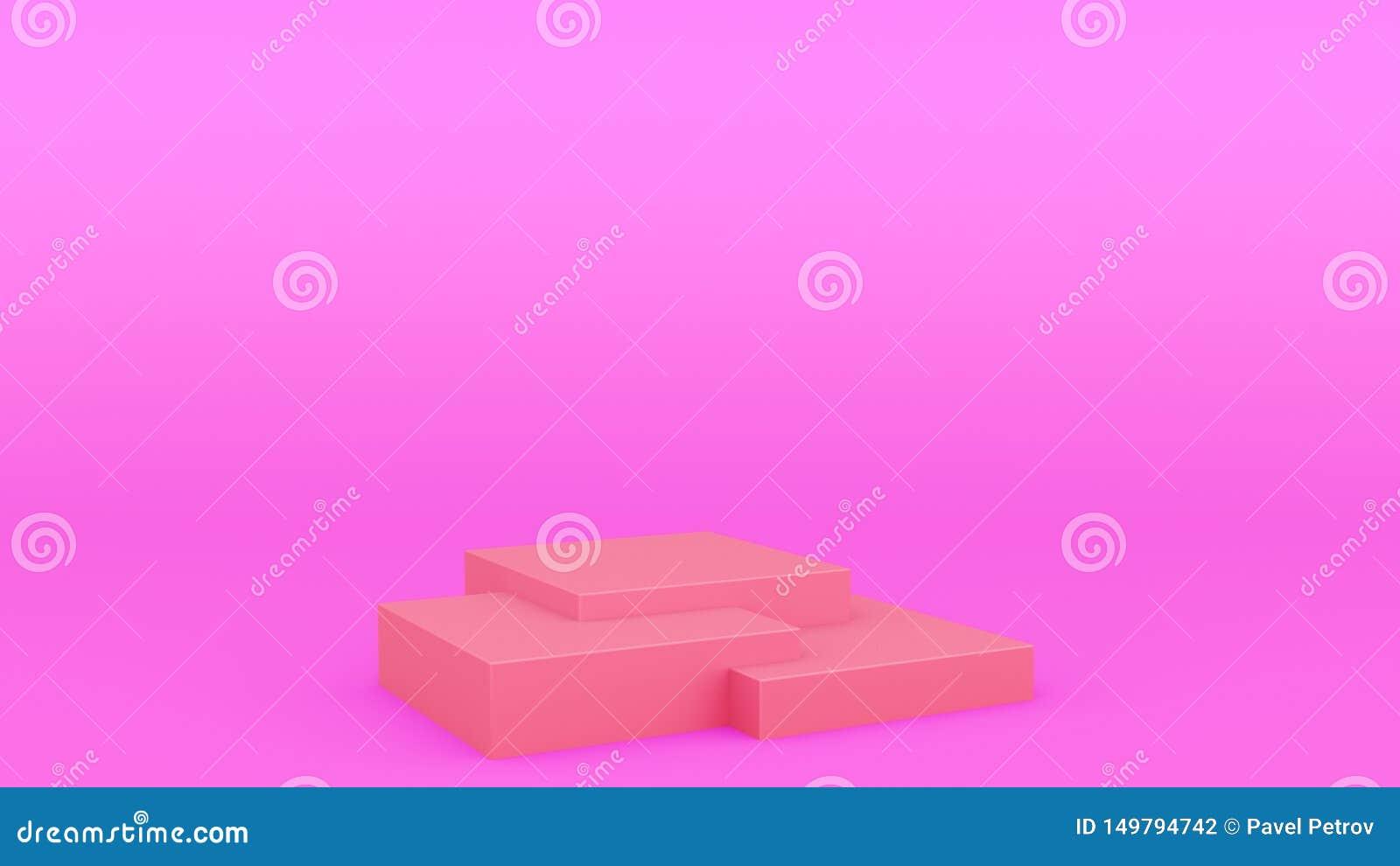 回报现代minimalistic嘲笑的箱子几何指挥台紫色场面最小的3d,空白的模板,空的陈列室
