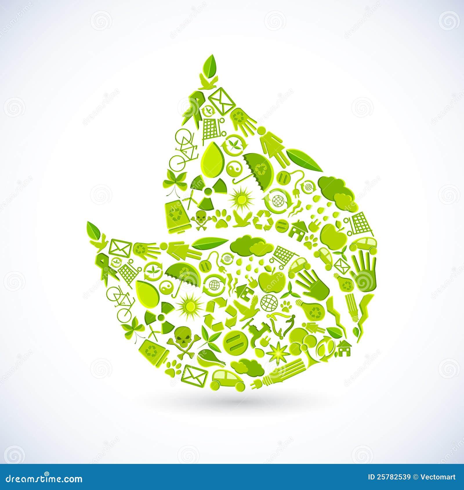叶子形状的例证做回收符号.图片