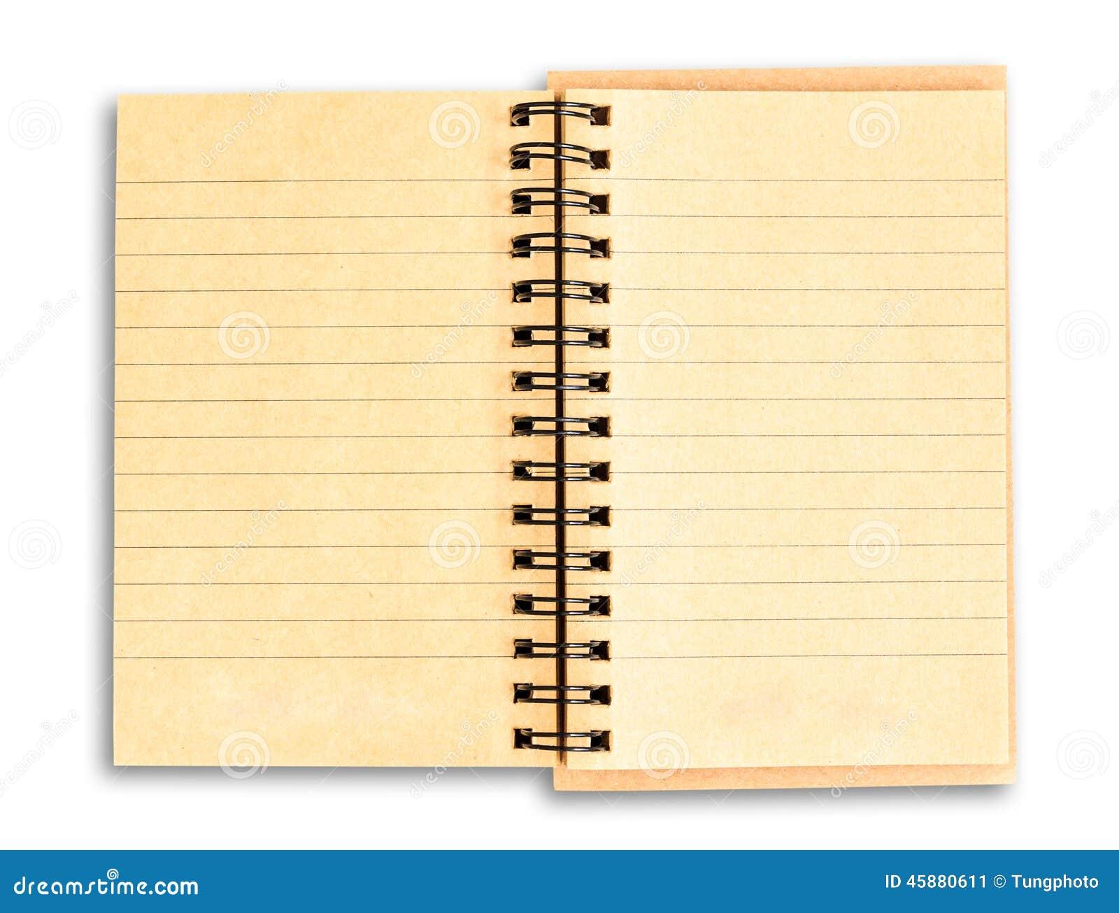 回收在与c的白色背景隔绝的包装纸笔记本